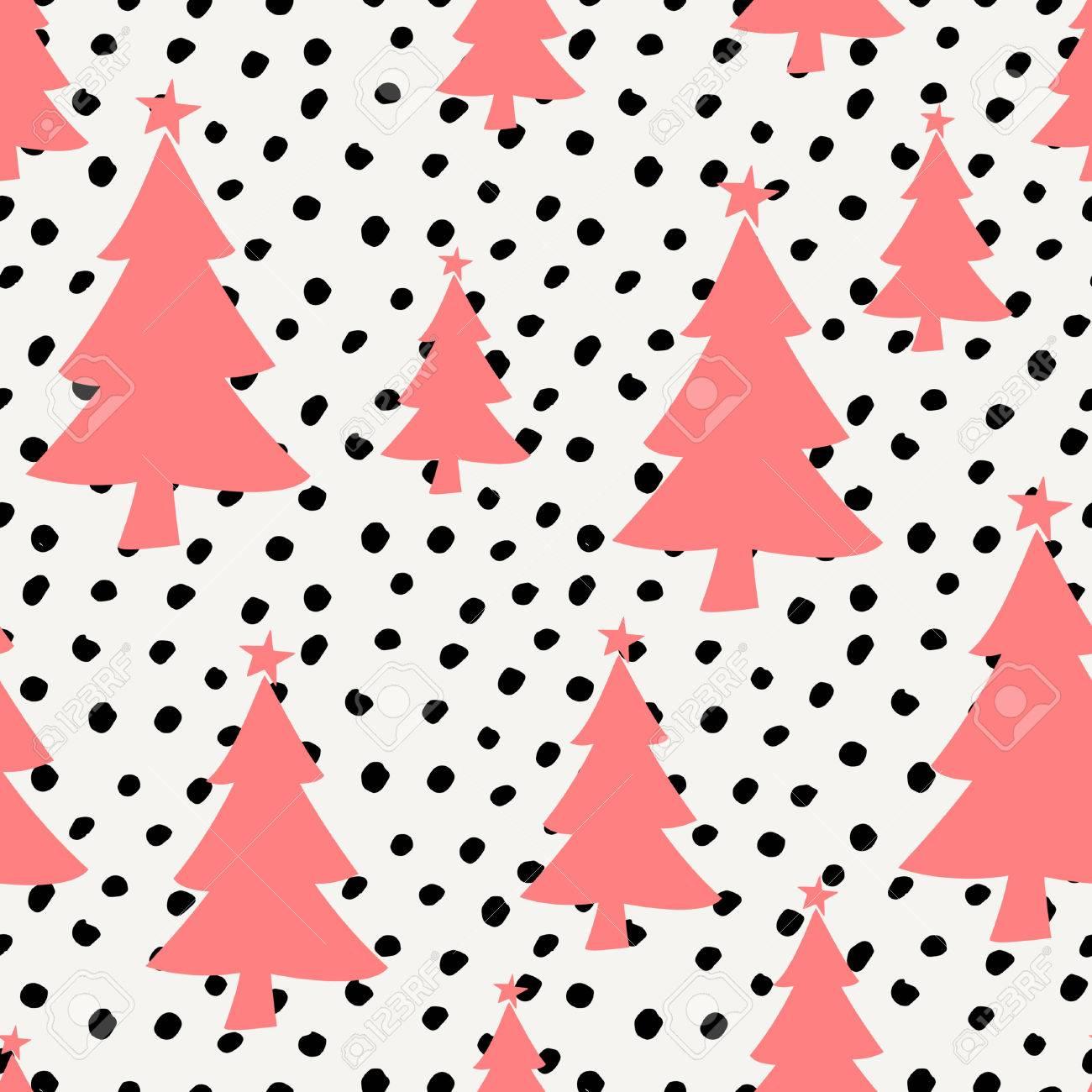 Invierno Patrón Transparente Con árboles De Navidad Rojos Y Puntos ...