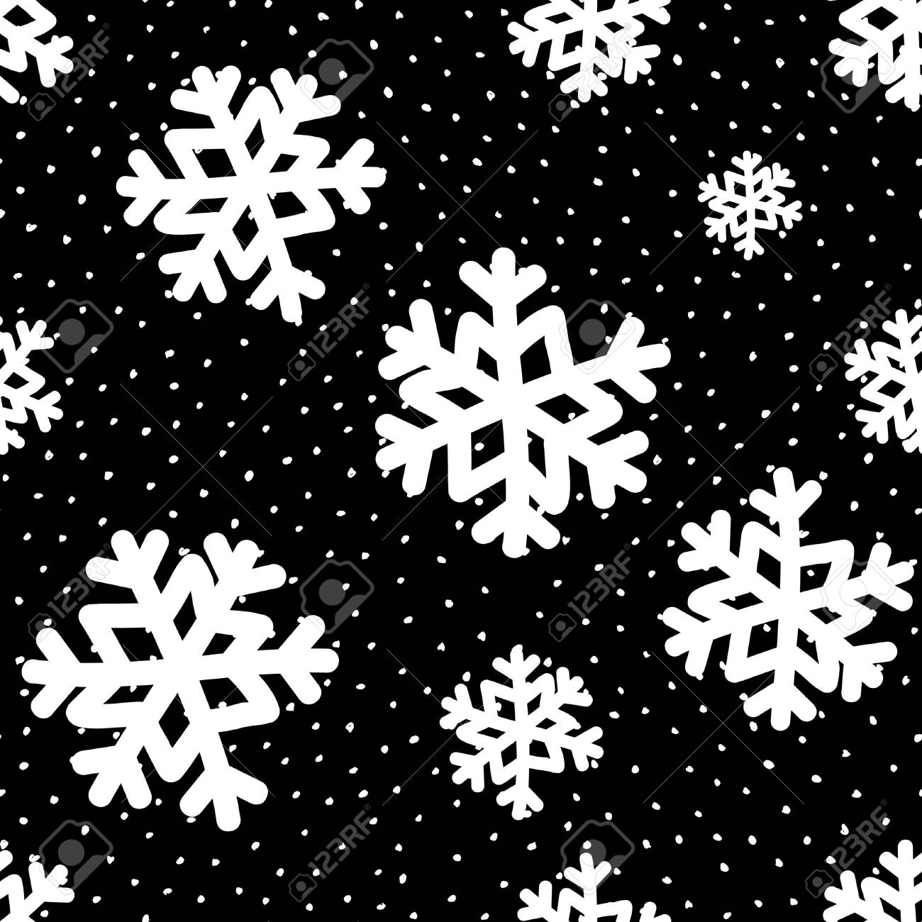 Seamless Repeating Pattern With White Snowflakes On Black
