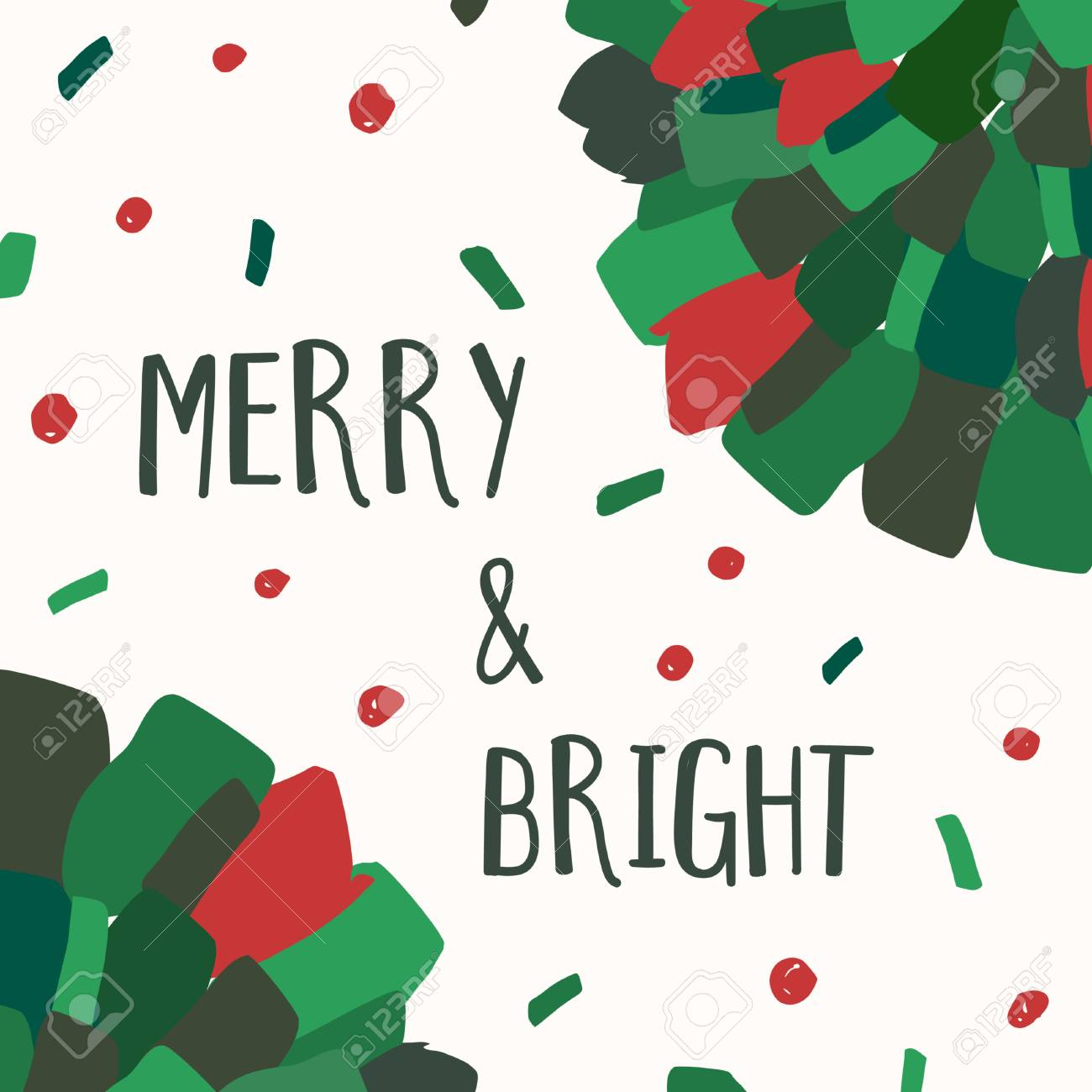 Christmas Greeting Card Template With Green And Red Brushstrokes