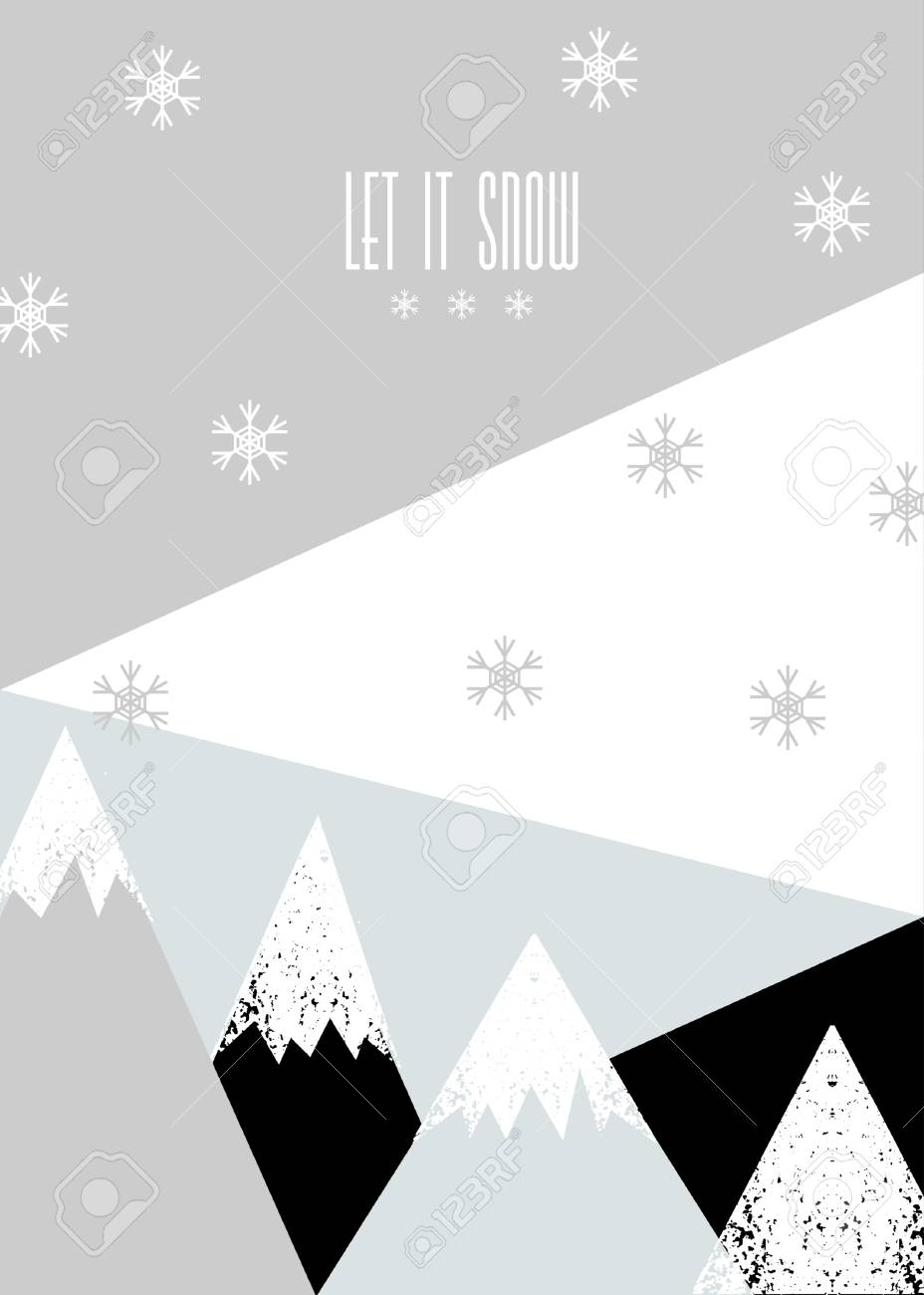 modern christmas greeting card template with text let it snow