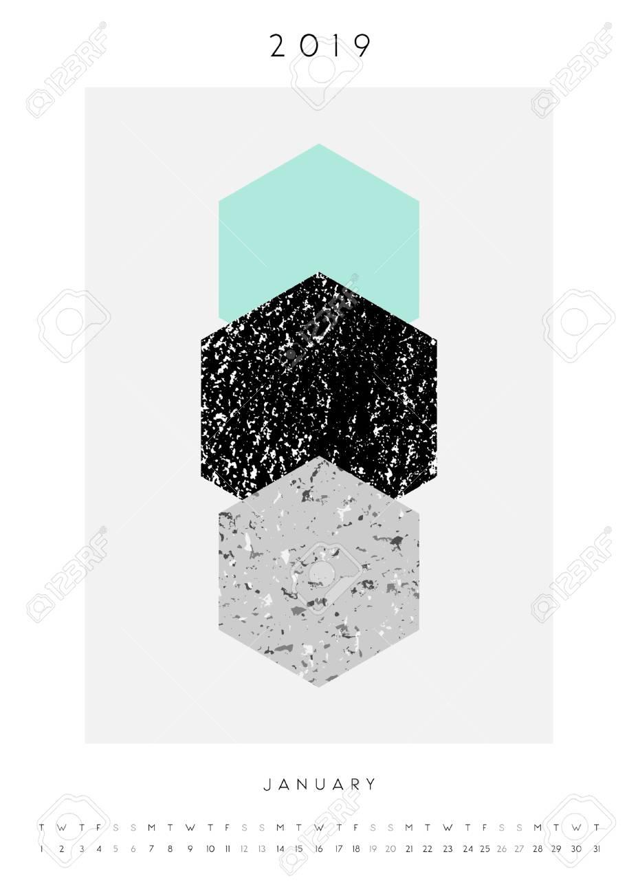 Printable A4 Size January 2019 Calendar Template Abstract