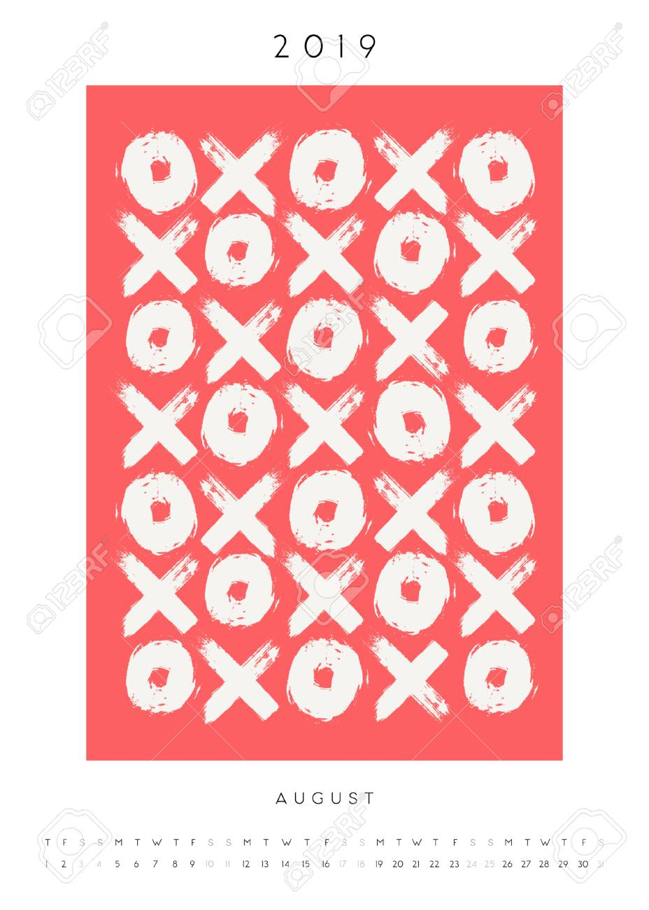 Printable A4 size August 2019 calendar template  Hand drawn symbols,