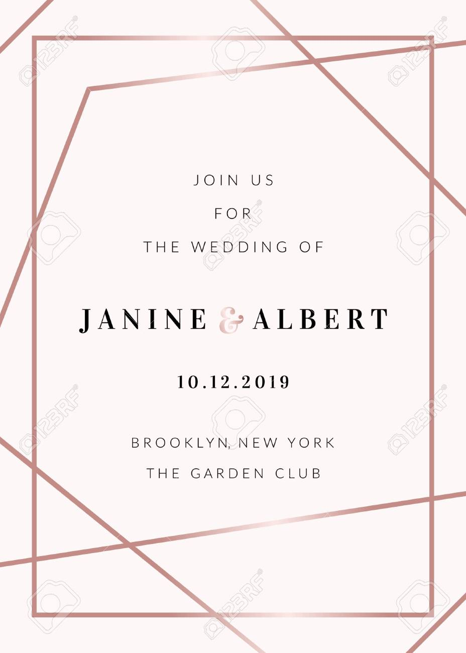Wedding Invitation Template With Rose Gold Decorative Elements
