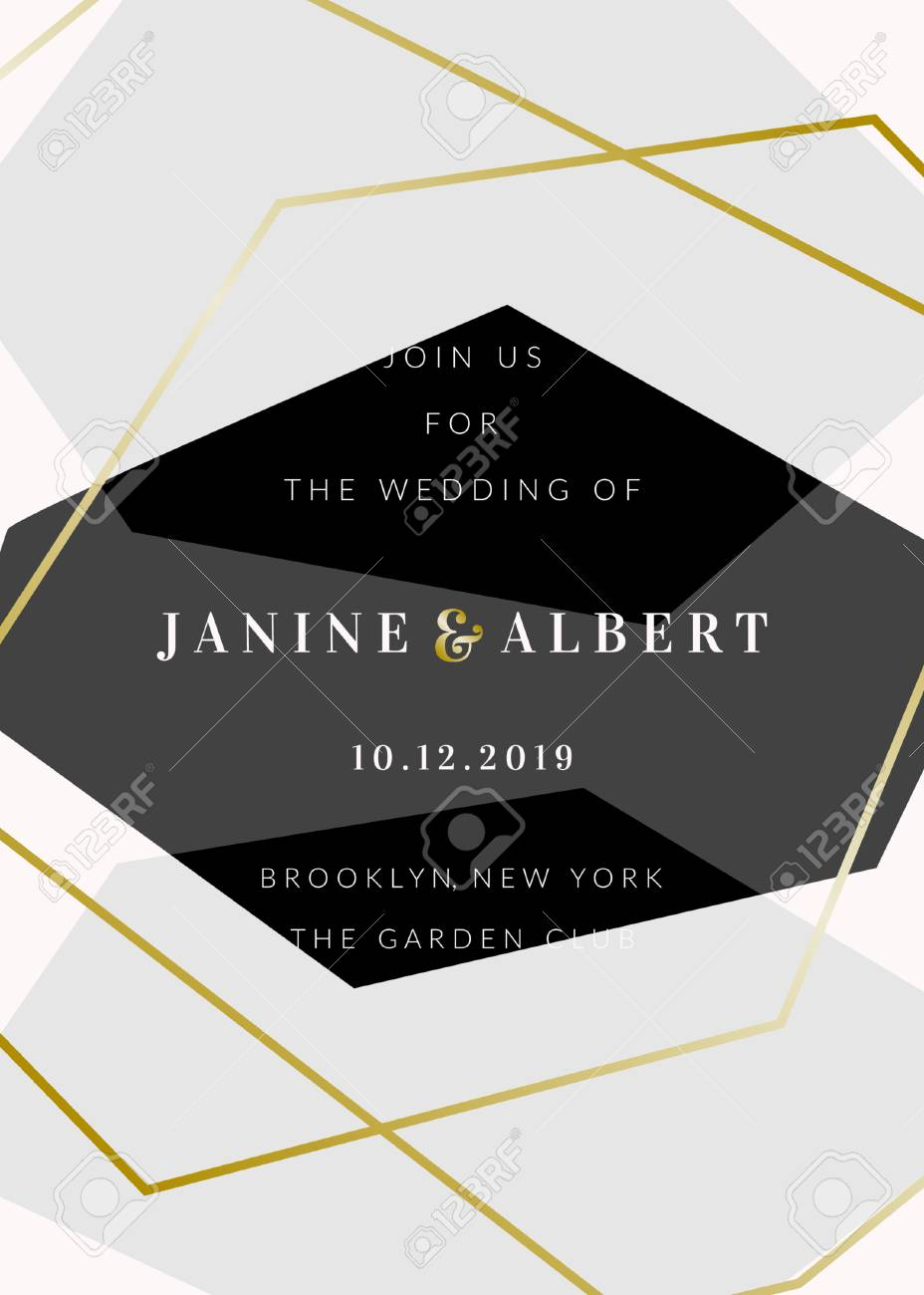 Wedding Invitation Template With Geometric Elements In Black.. Royalty Free  Cliparts, Vectors, And Stock Illustration. Image 127103132.