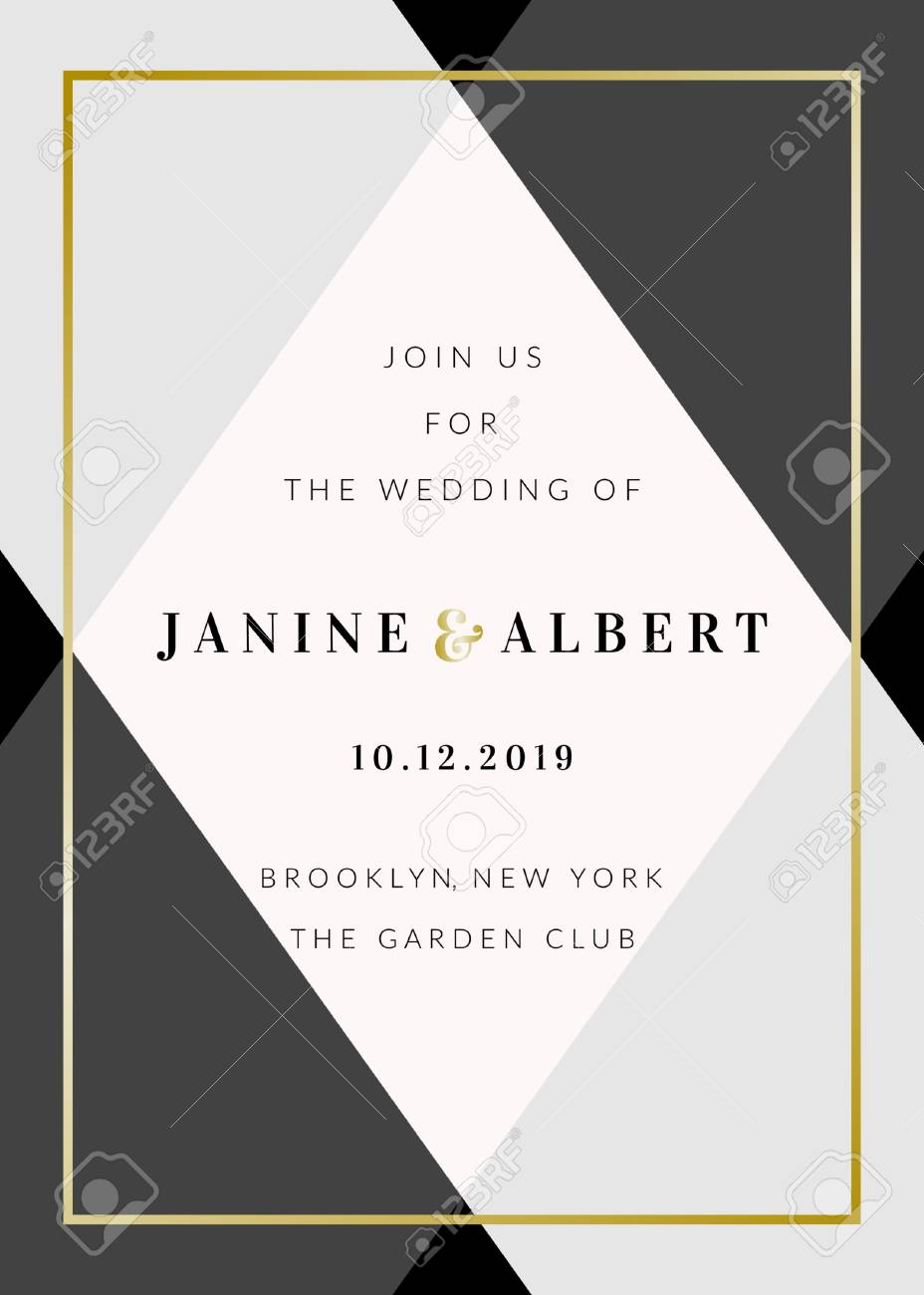 Wedding Invitation Template With Geometric Elements In Black