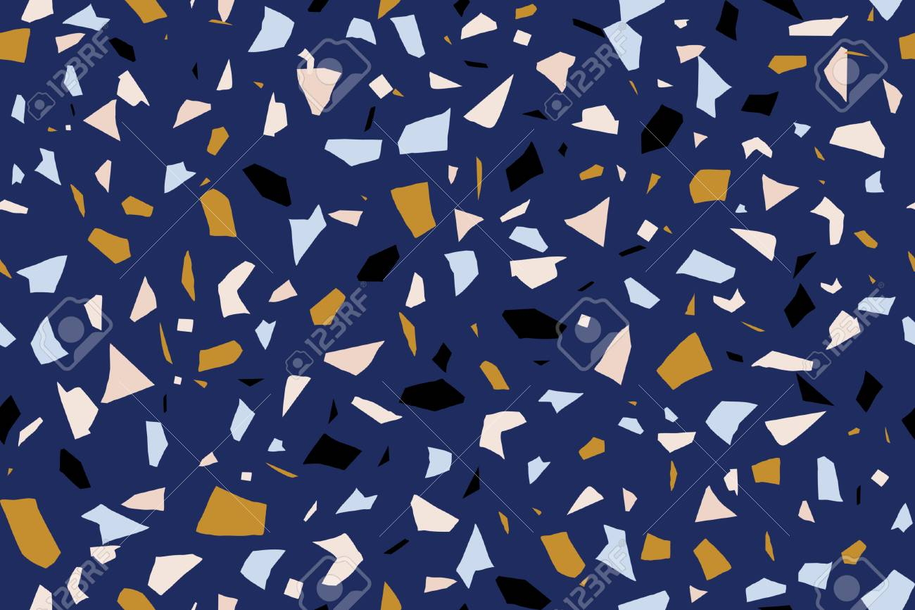 Seamless Repeating Terrazzo Pattern In Blue Yellow Pastel Pink
