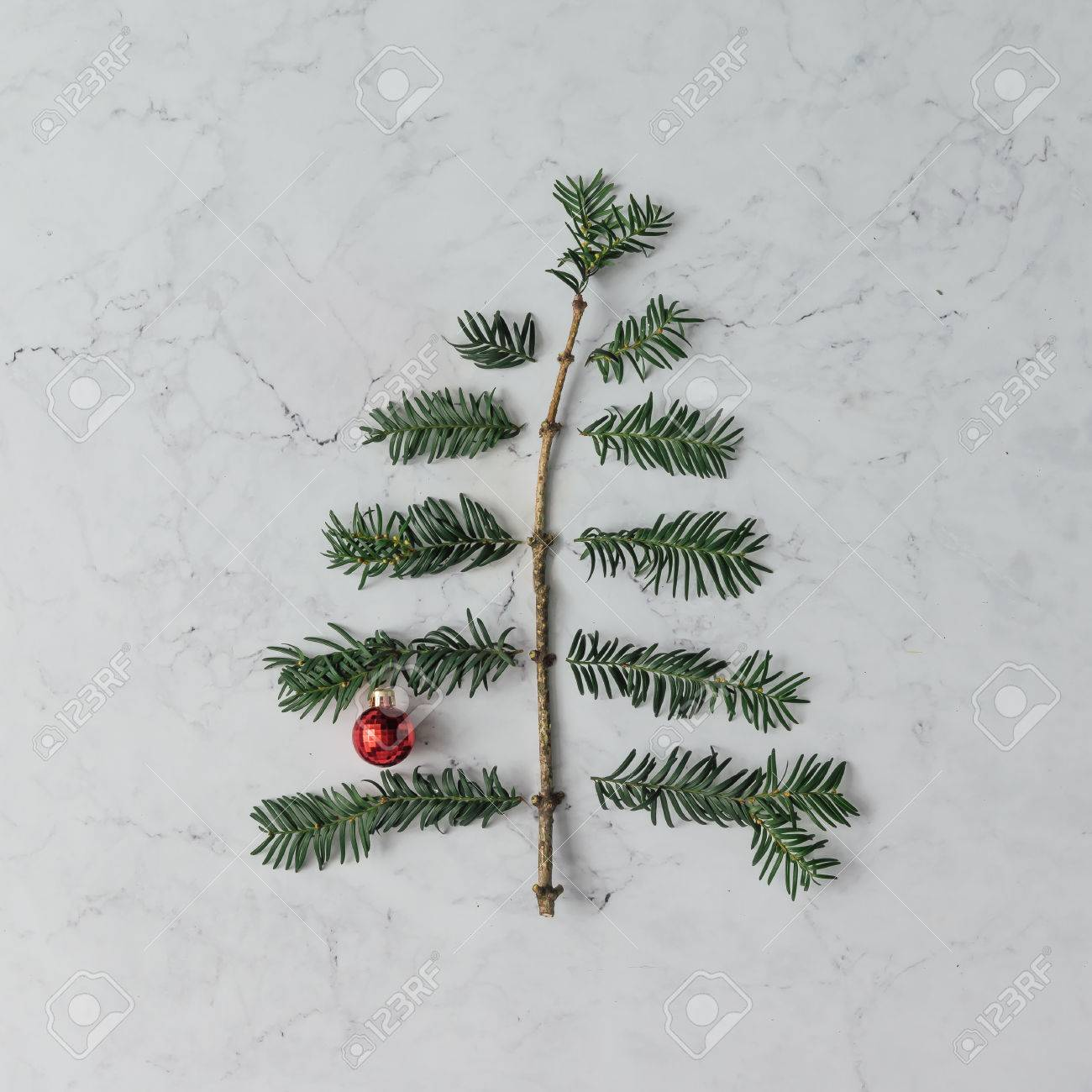 New Years Foliage >> Christmas Tree Made Of Winter Foliage And New Year Decoration