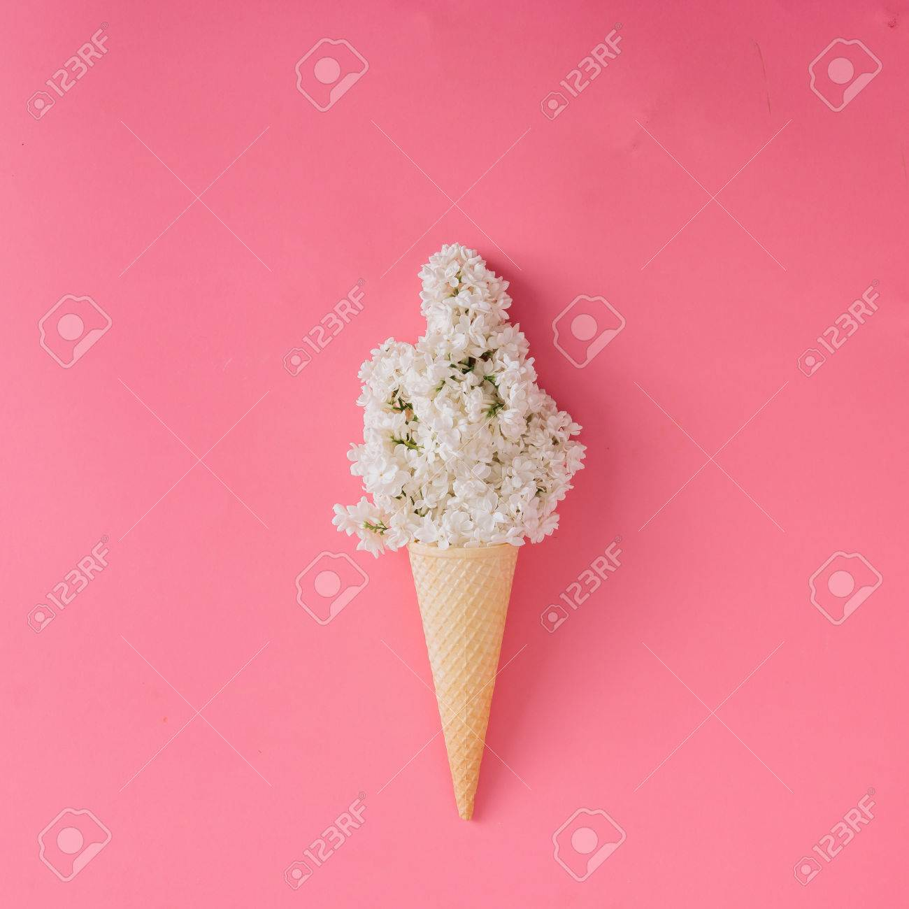 Lilac flower in ice cream cone on pink background. Minimal concept. Flat lay. - 70796725