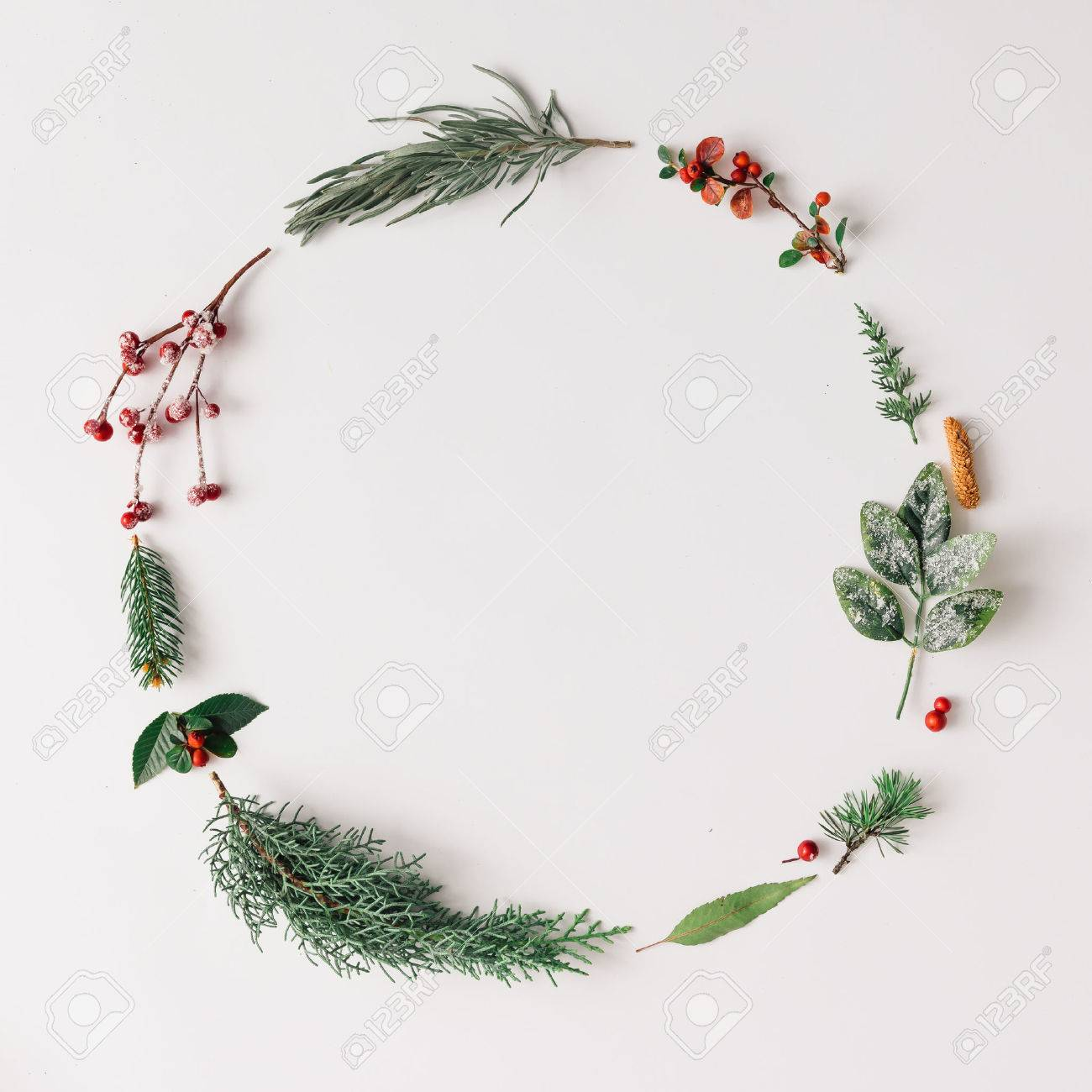 Christmas round frame made of natural winter things. Flat lay. - 70796874
