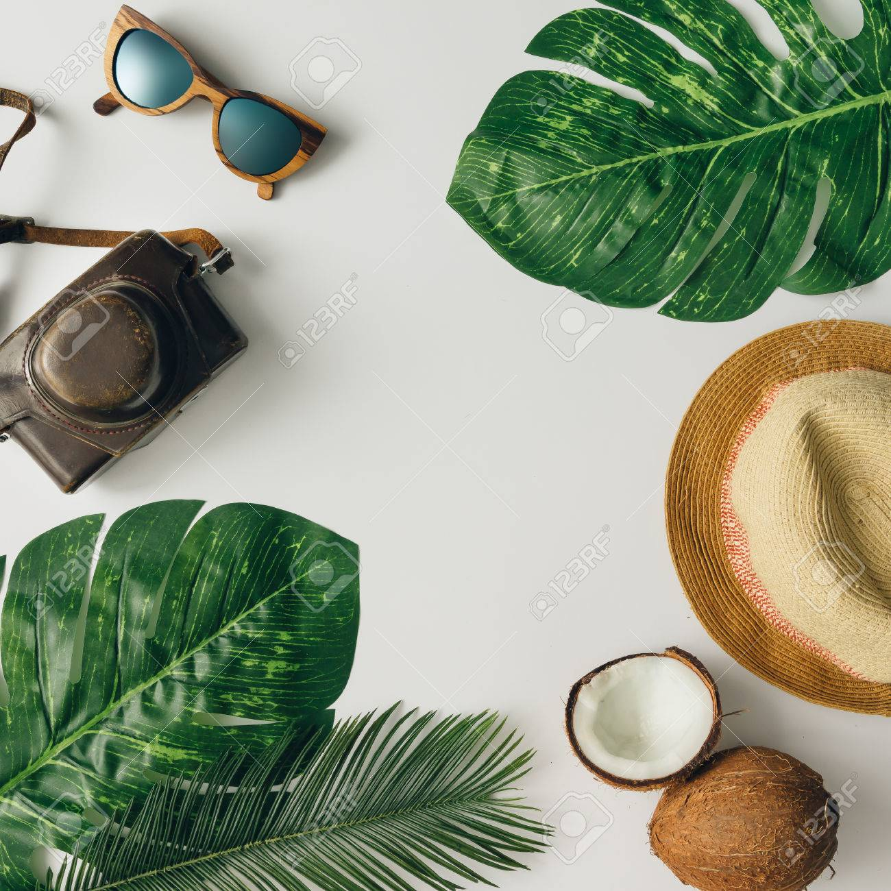 Creative tropical summer travel layout. Flat lay. Vacation concept. - 76696039