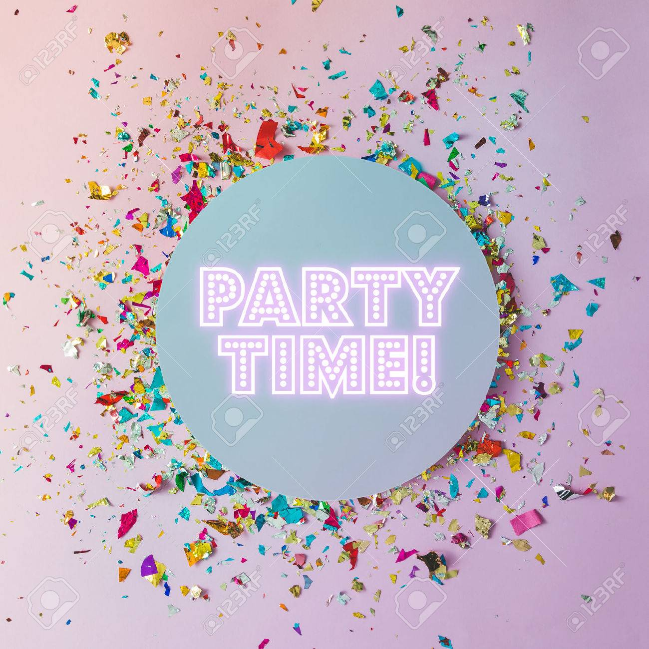 Colorful celebration background with party confetti on pink background. Flat lay. - 76696087