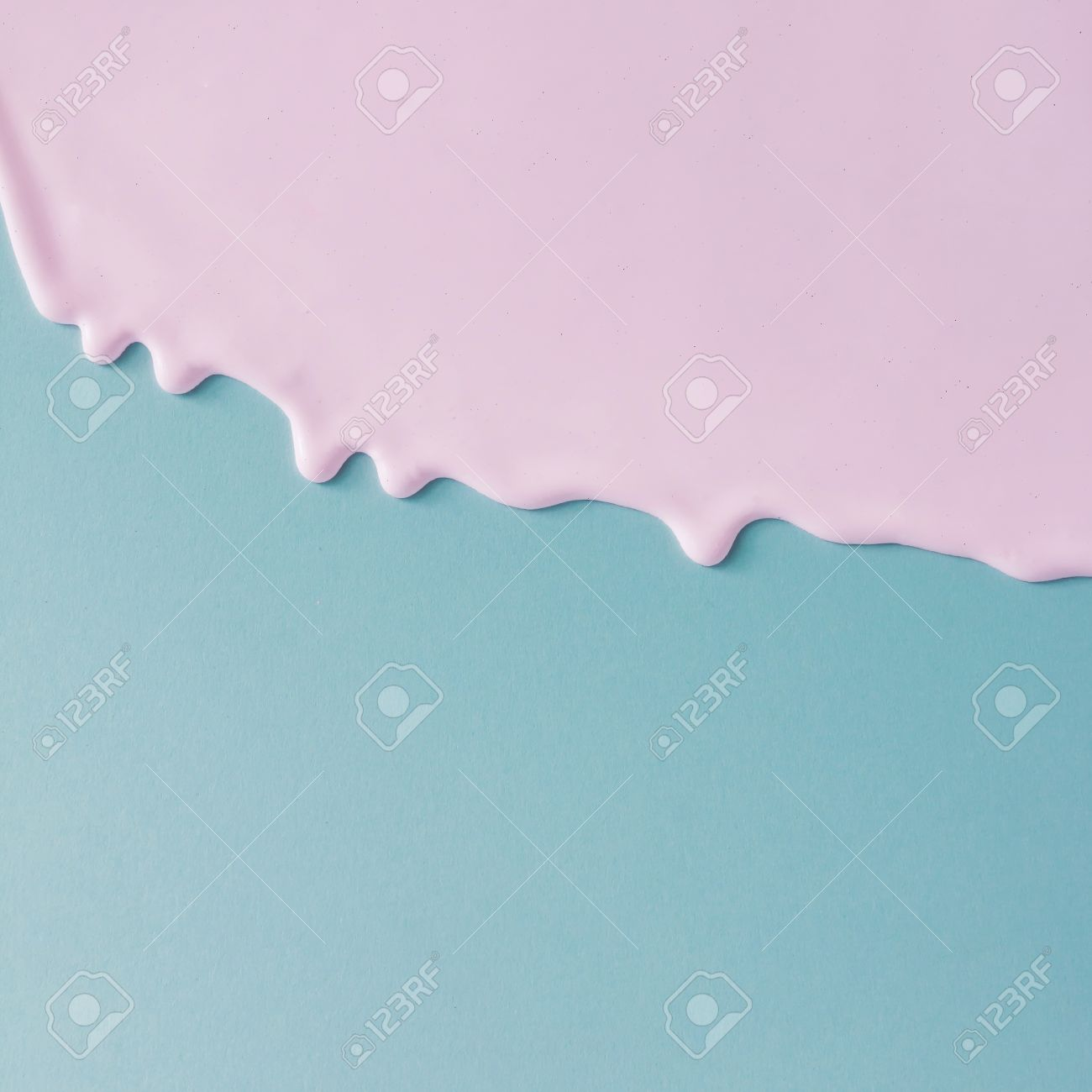 Abstract pink oil paint texture on blue canvas. Minimalistic background with copy space. - 82877720