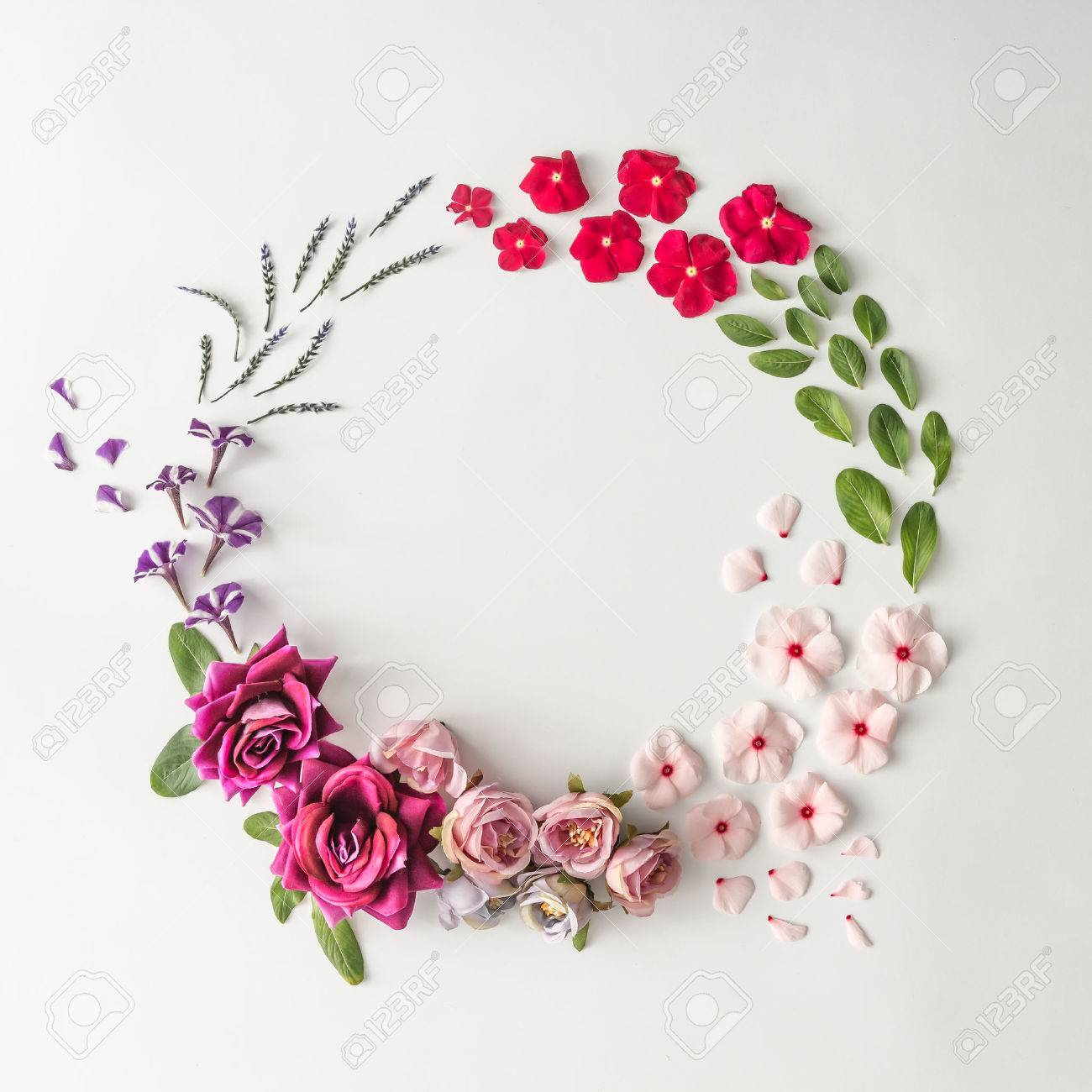 Creative layout made of various flowers with copy space. Flat lay. Nature background - 85113244
