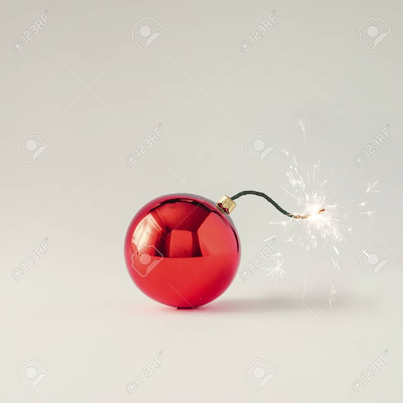 Christmas bauble decoration fuse bomb. Time for celebration. New Year concept. - 89553718