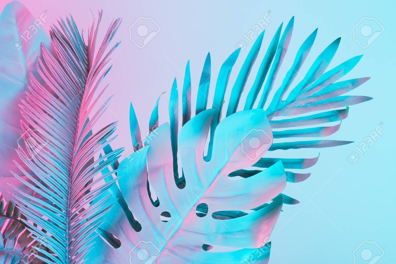 Tropical and palm leaves in vibrant bold gradient holographic colors. Concept art. Minimal surrealism. - 98107292