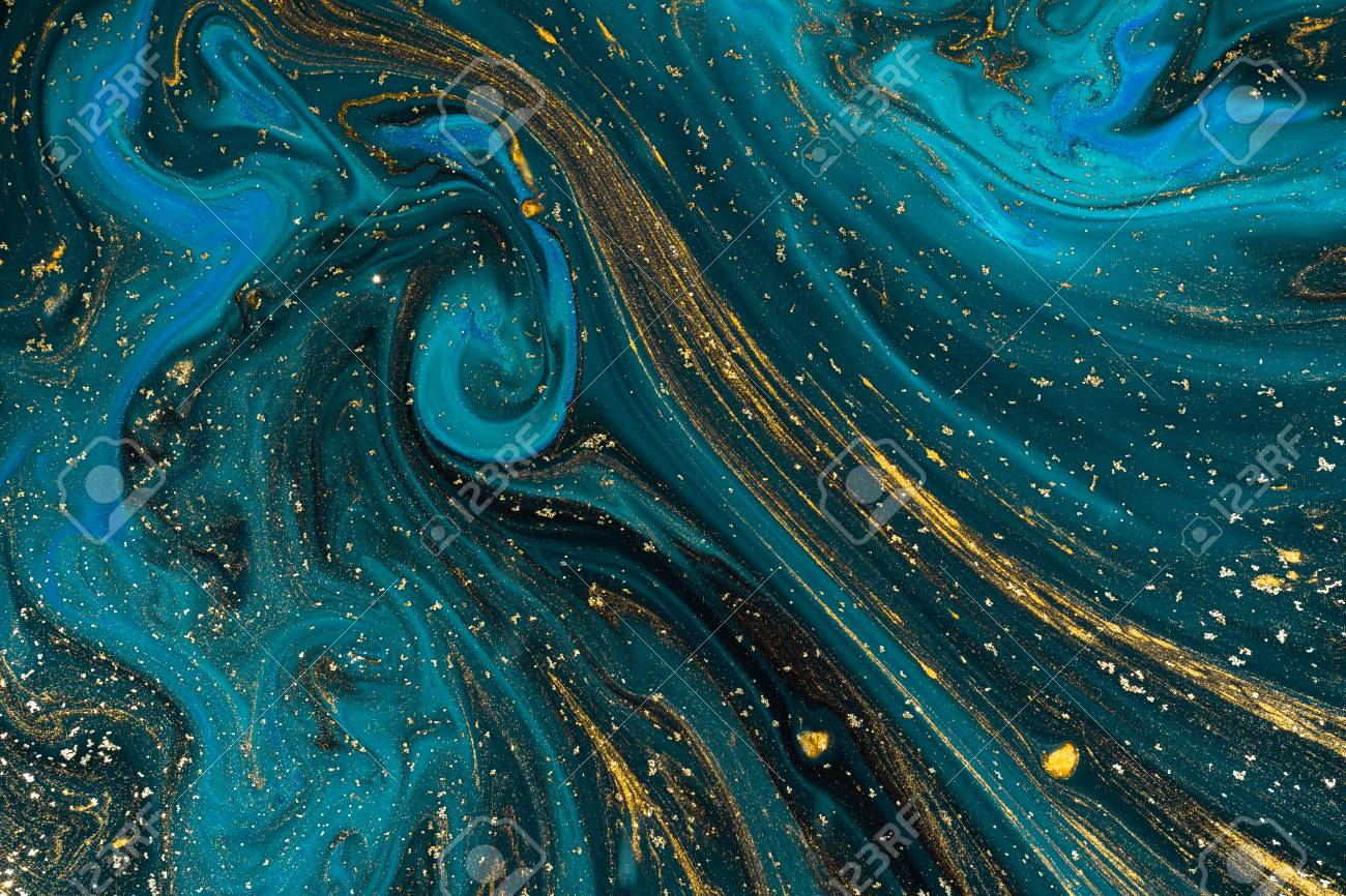 Abstract paint texture art. Natural luxury. Blue paint with gold glitter powder. Marble background. - 116573222