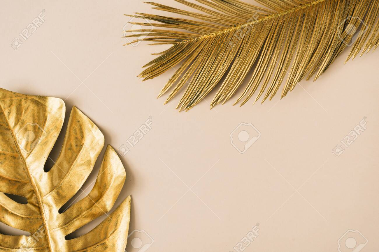 Creative layout made of golden tropical leaves and palms on beige background. Minimal summer exotic concept with copy space. Border arrangement background. - 127506575