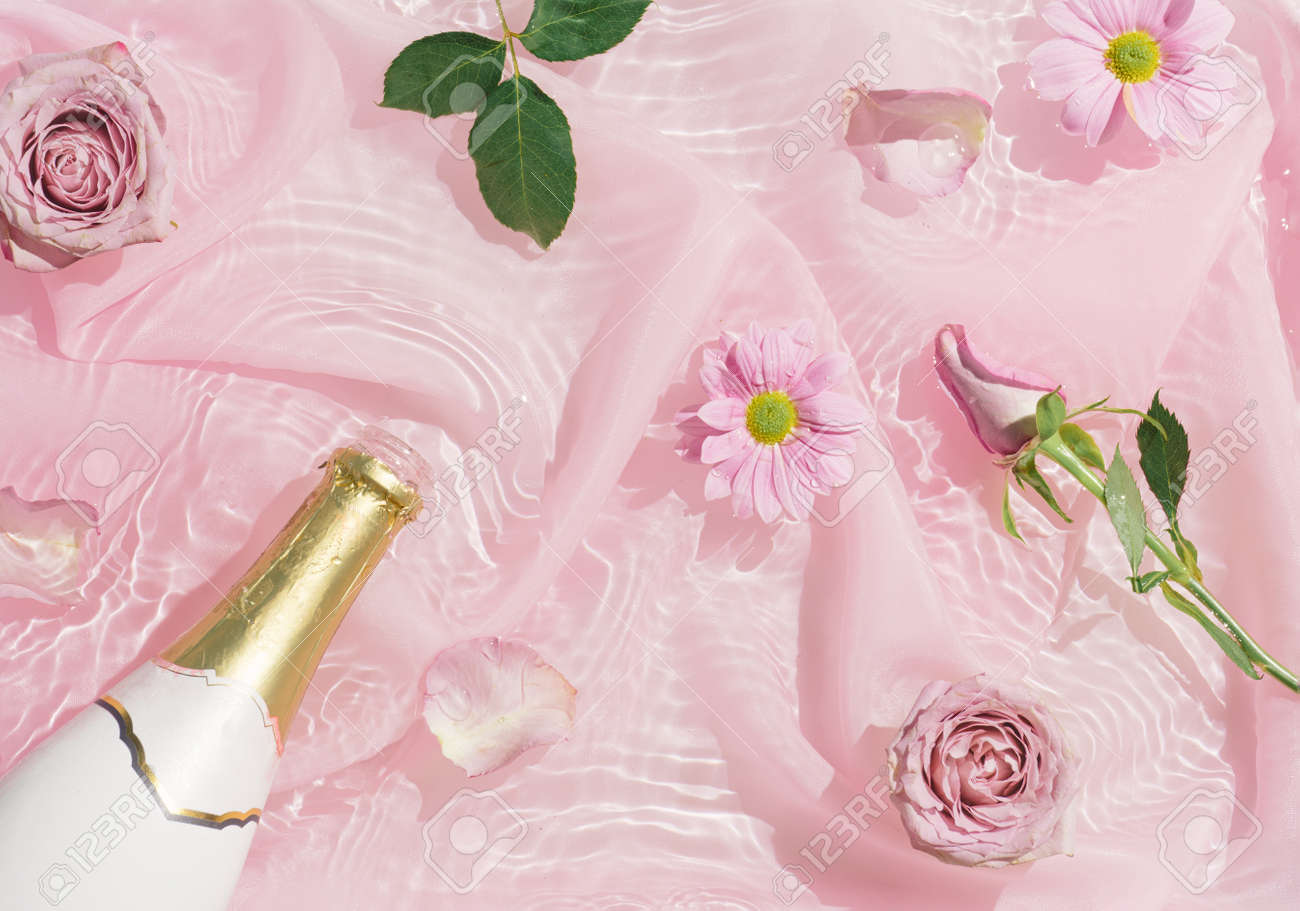 Pink rose flowers in water with silk fabric and champagne bottle. Valentines or woman's day background design. Minimal flat lay nature. - 162580159