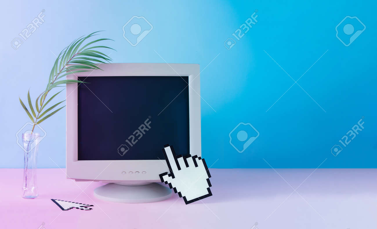 Retro vintage computer monitor with tropical palm leaf. Blue and purple colored lights. Creative minimal cyberwave background. Retro futurism. - 163335959