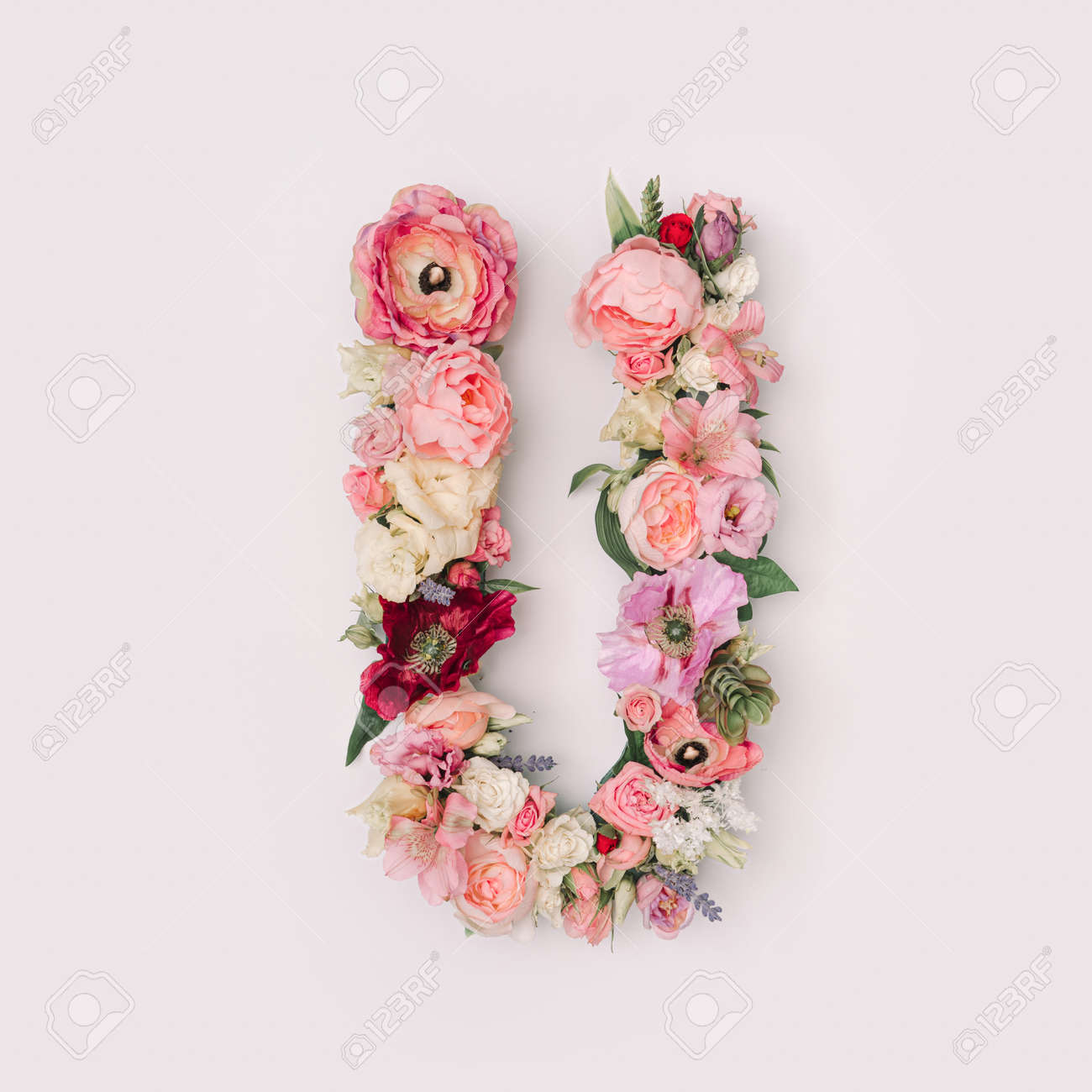 Letter U made of real natural flowers and leaves. Flower font concept. Unique collection of letters and numbers. Spring, summer and valentines creative idea. - 163345338