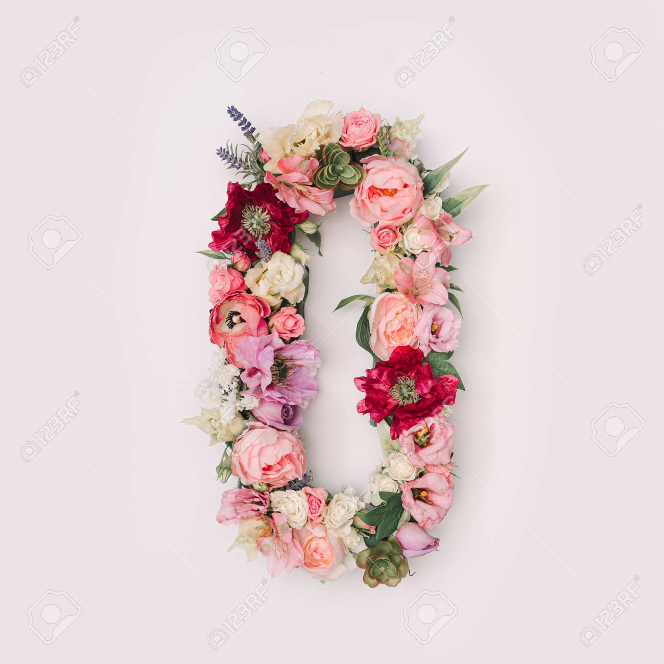Letter O or number made of real natural flowers and leaves. Flower font concept. Unique collection of letters and numbers. Spring, summer and valentines creative idea. - 163345413
