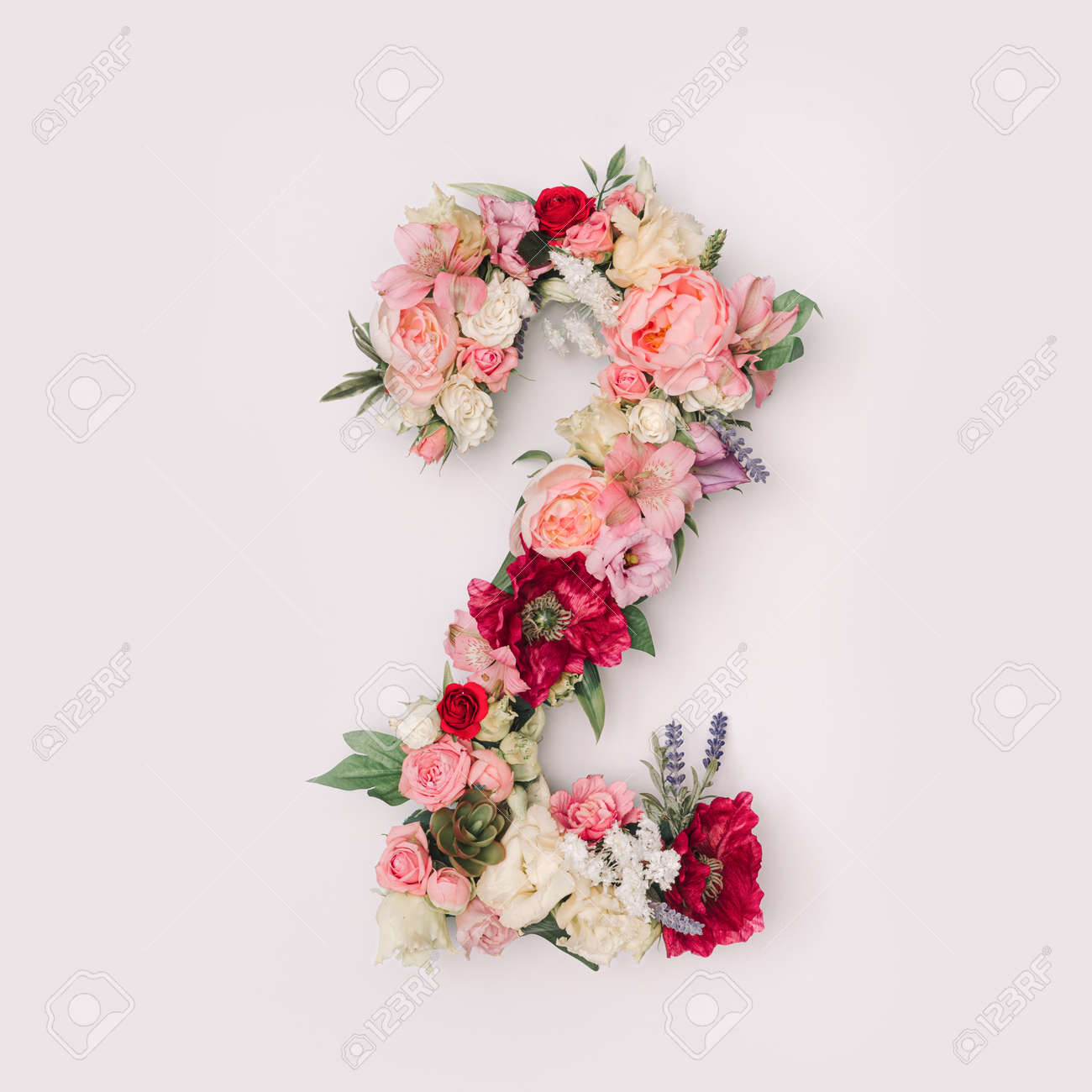 Number 2 made of real natural flowers and leaves. Flower font concept. Unique collection of letters and numbers. Spring, summer and valentines creative idea. - 163344911