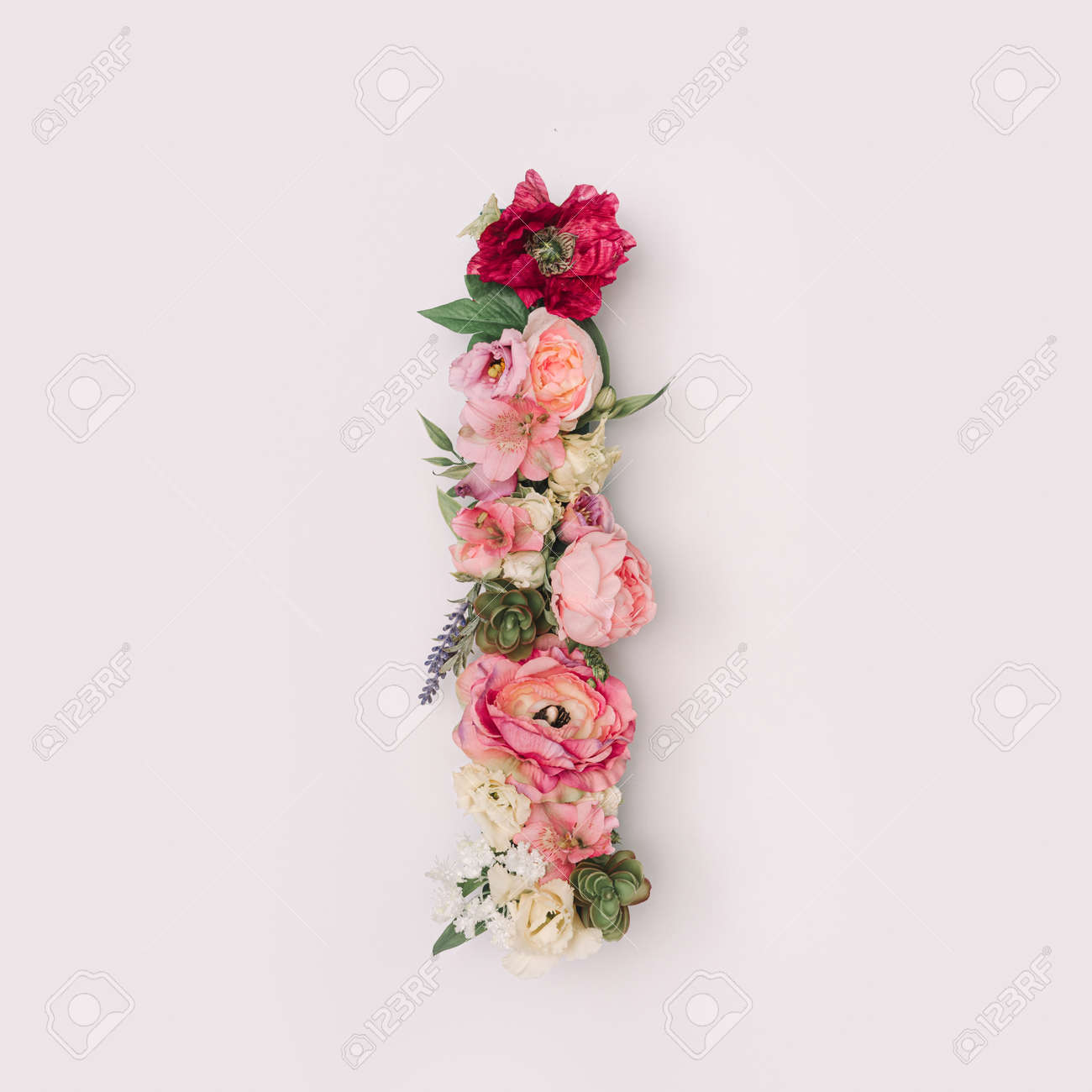 Letter I made of real natural flowers and leaves. Flower font concept. Unique collection of letters and numbers. Spring, summer and valentines creative idea. - 163345921