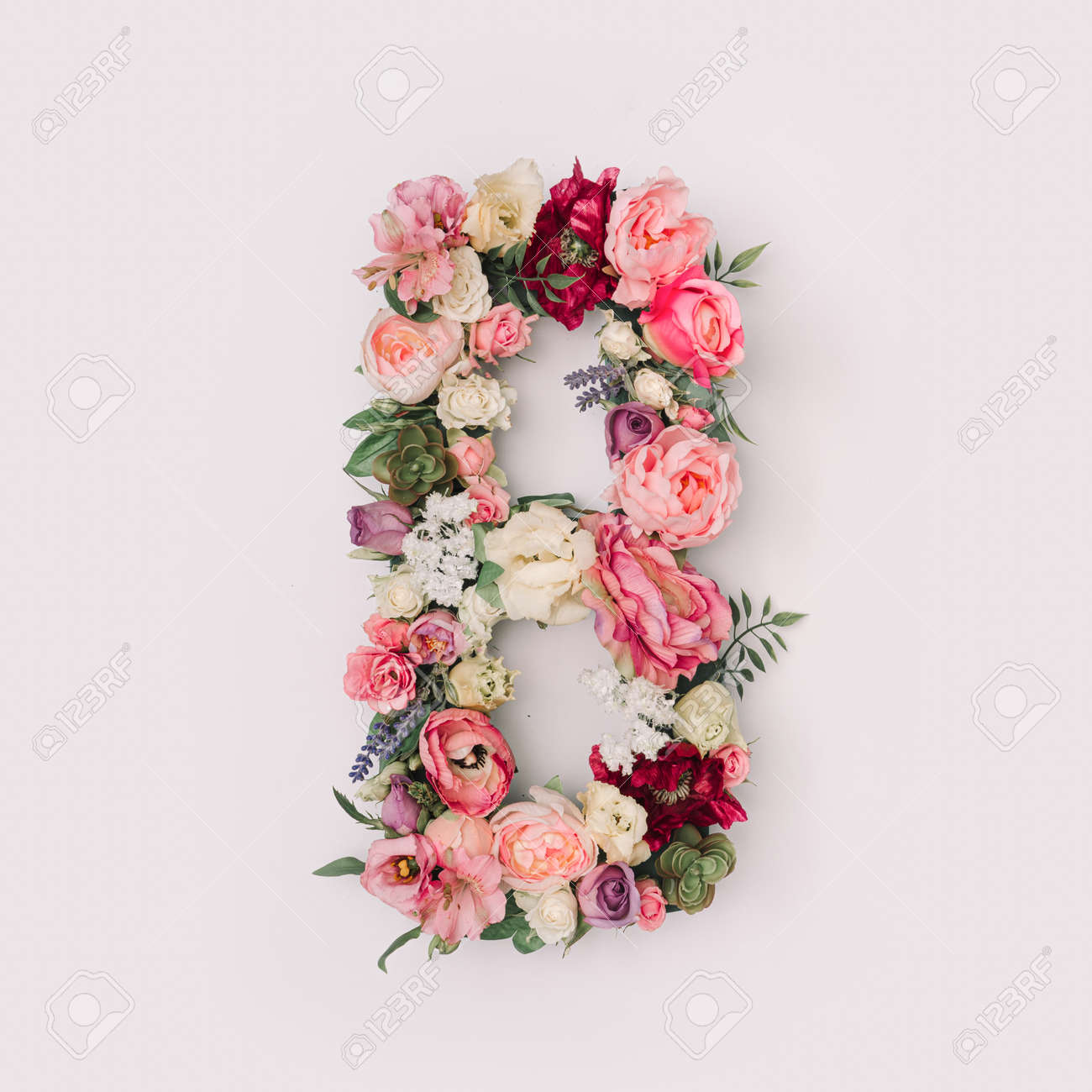 Letter B made of real natural flowers and leaves. Flower font concept. Unique collection of letters and numbers. Spring, summer and valentines creative idea. - 163345583