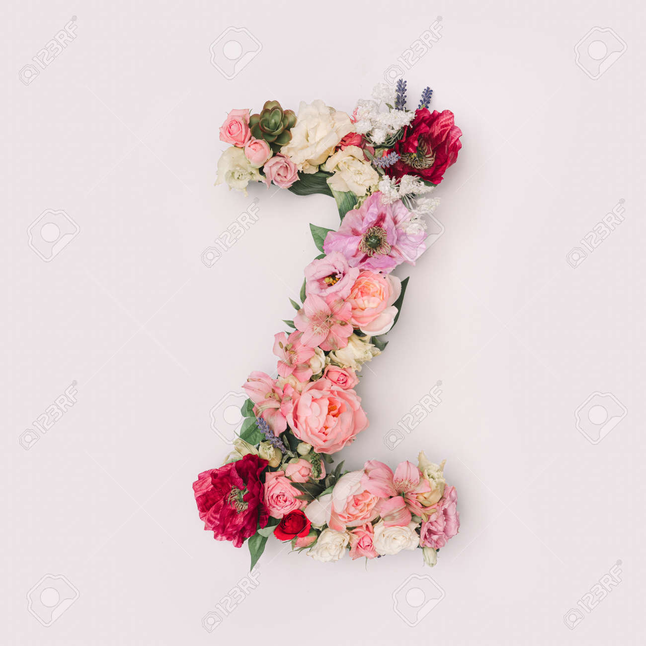 Letter Z made of real natural flowers and leaves. Flower font concept. Unique collection of letters and numbers. Spring, summer and valentines creative idea. - 163345673