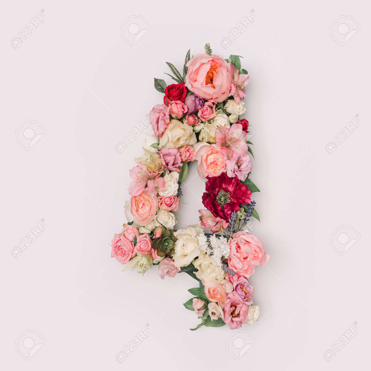 Number 4 made of real natural flowers and leaves. Flower font concept. Unique collection of letters and numbers. Spring, summer and valentines creative idea. - 163345591