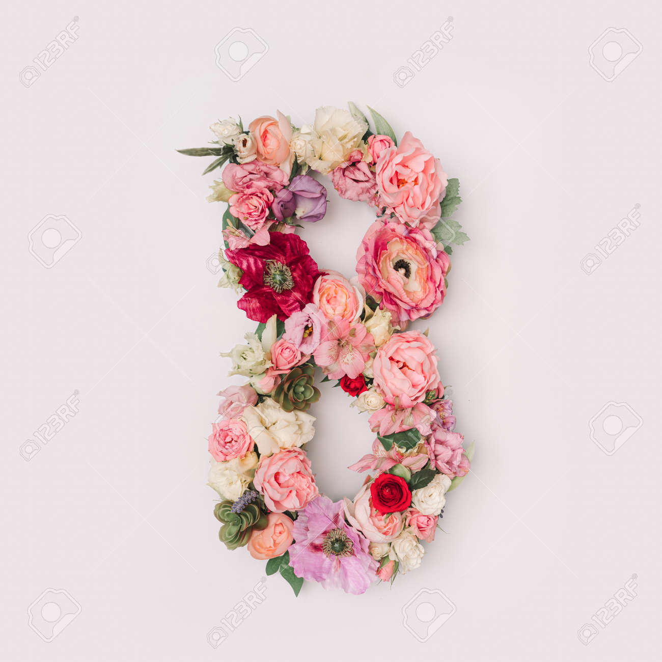 Number 8 made of real natural flowers and leaves. Flower font concept. Unique collection of letters and numbers. Spring, summer and valentines creative idea. - 163345785