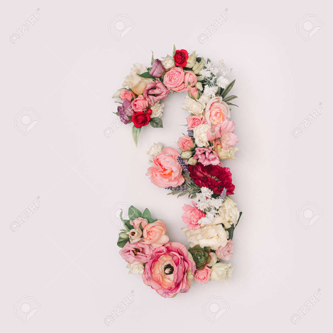 Number 3 made of real natural flowers and leaves. Flower font concept. Unique collection of letters and numbers. Spring, summer and valentines creative idea. - 163345684