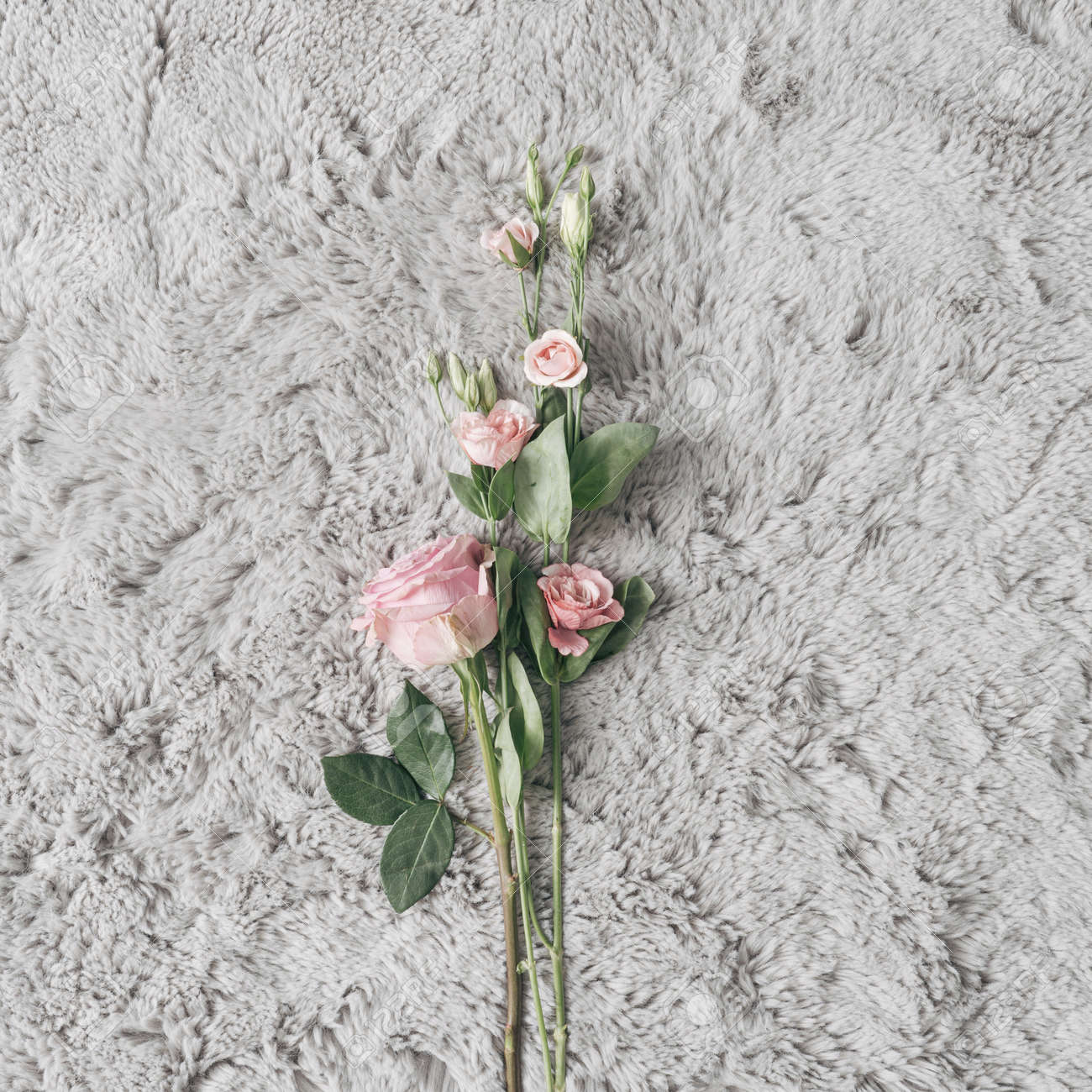 Fur background with Spring or Summer flowers. Minimal nature love concept. Mother's day Or Valentines idea. - 163288099