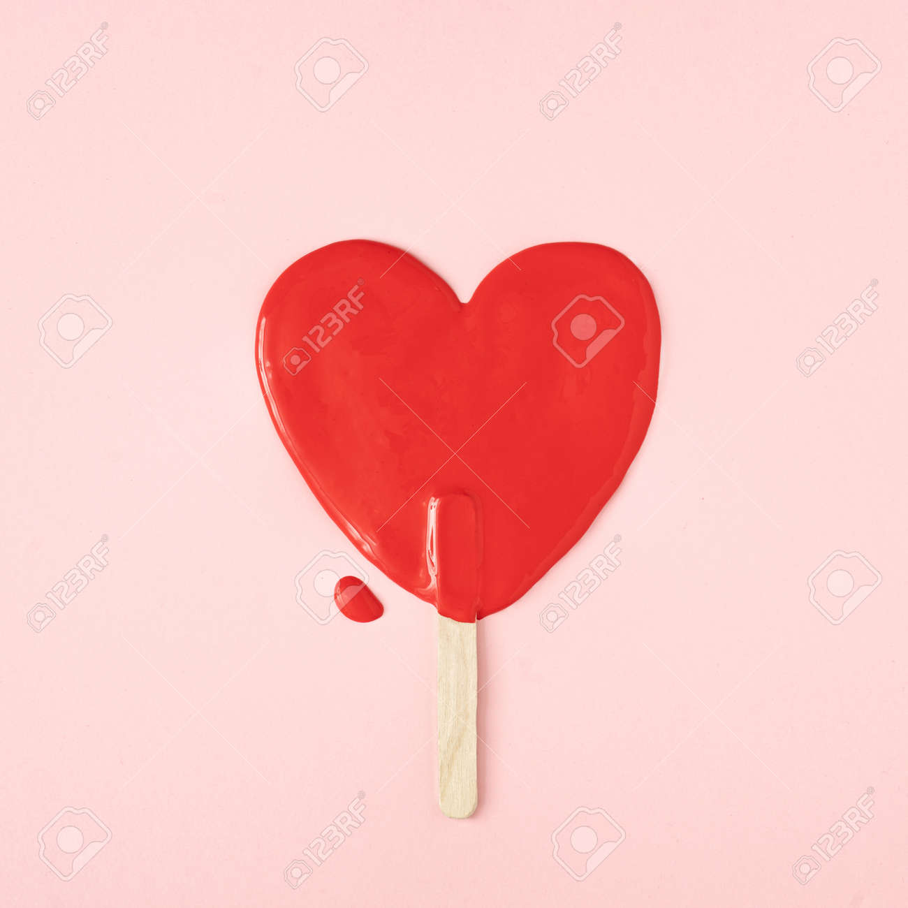 Melted icecream in shape of a heart. Minimal Valentines or love concept. Flat lay. - 163287346