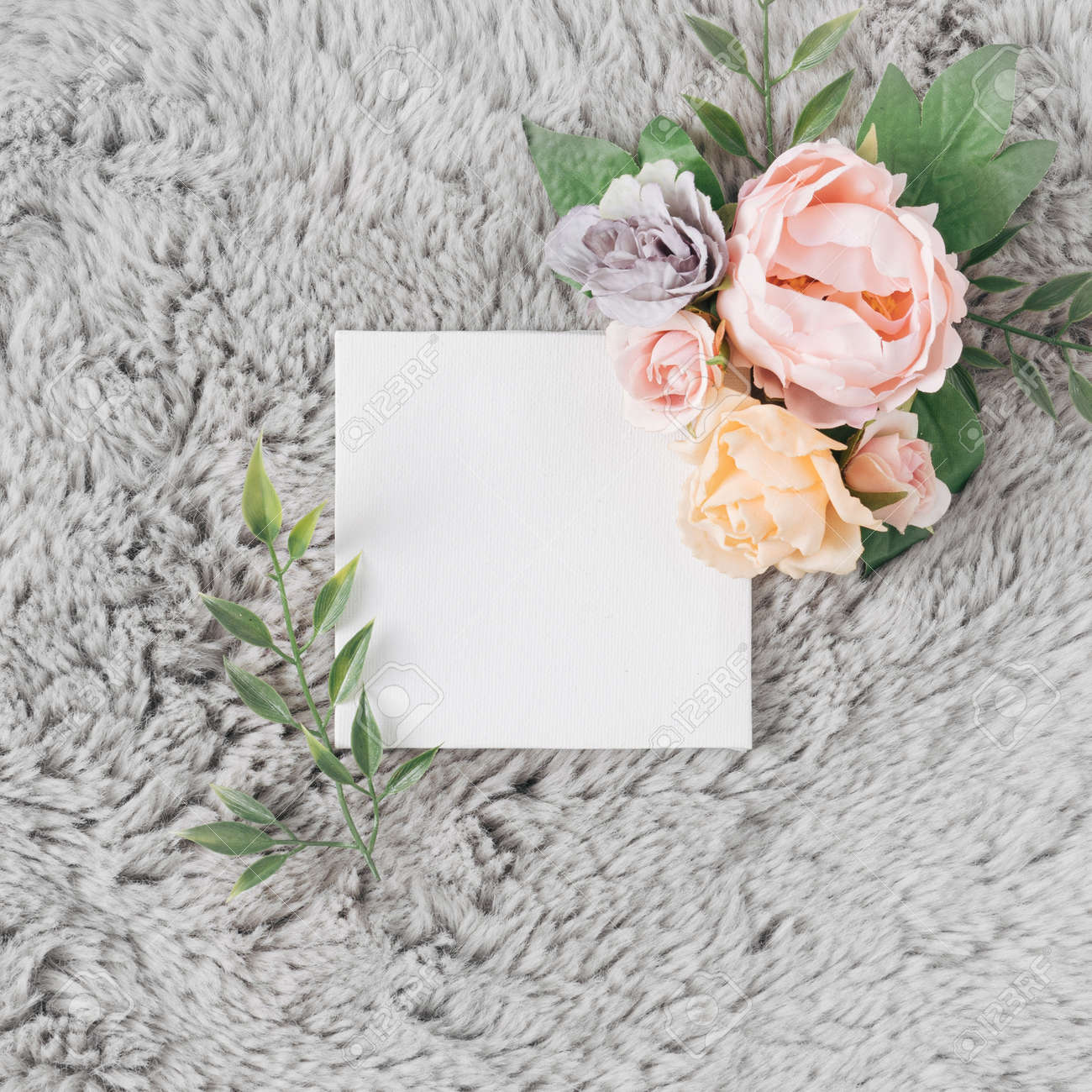Fur background with Spring or Summer flowers. Minimal nature love concept. Mother's day Or Valentines idea. - 163287270
