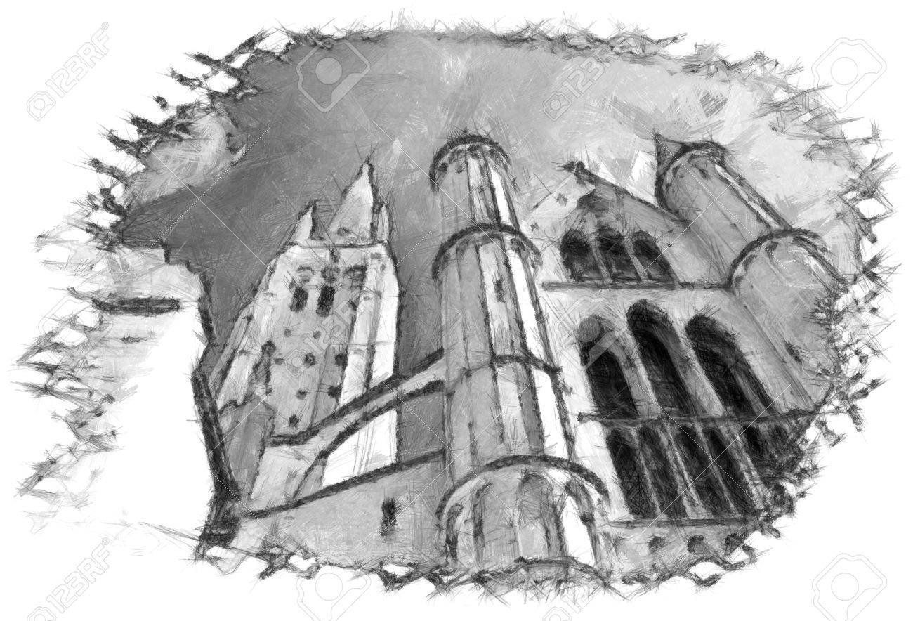 Brugge church architecture sketch pencil drawing stock photo 39969454