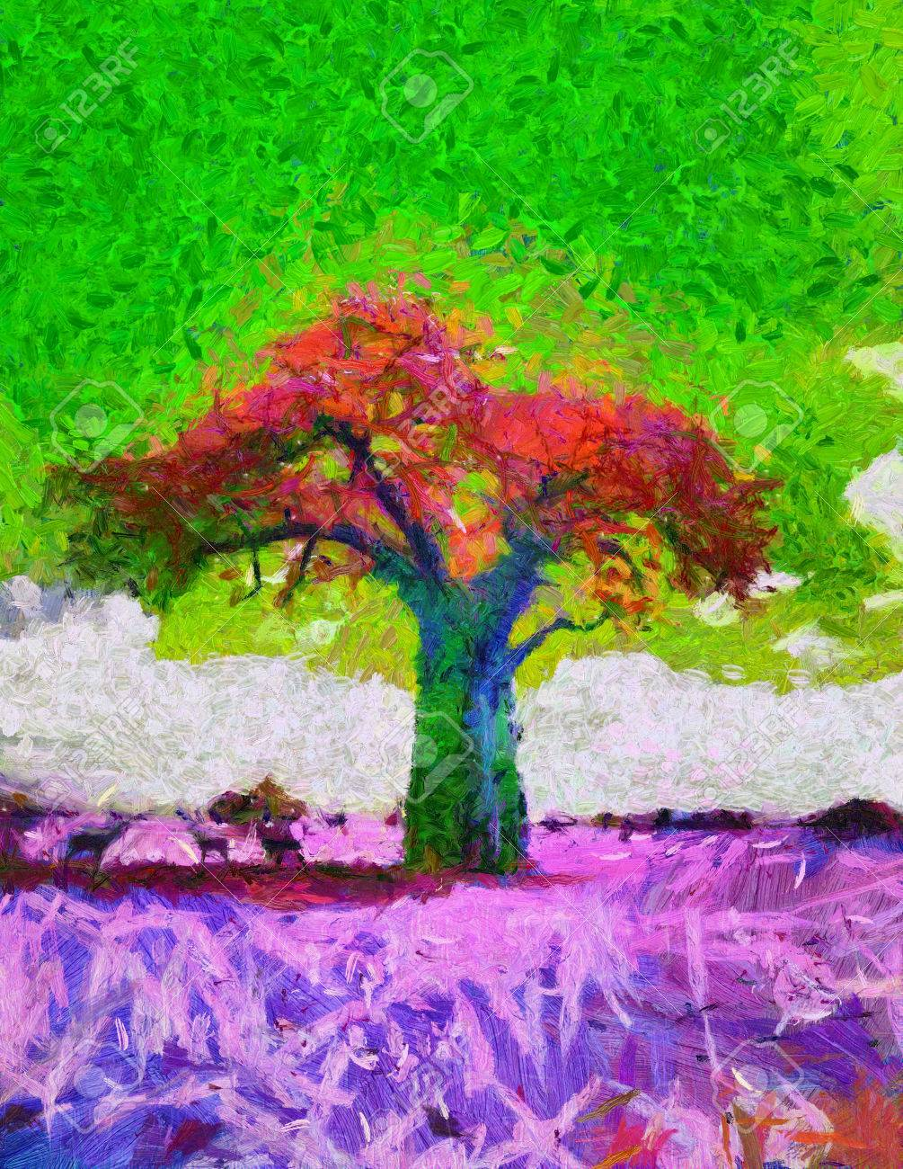 Acid Colors African Baobab Tree Landscapepsychedelic Oil Painting ...