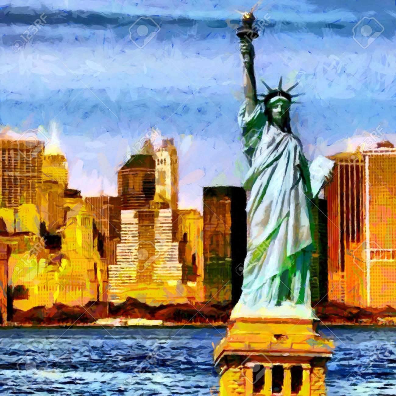 Statue De La Liberte Avec Des Gratte Ciel Peinture A L Huile De Fond Banque D Images Et Photos Libres De Droits Image 77605780