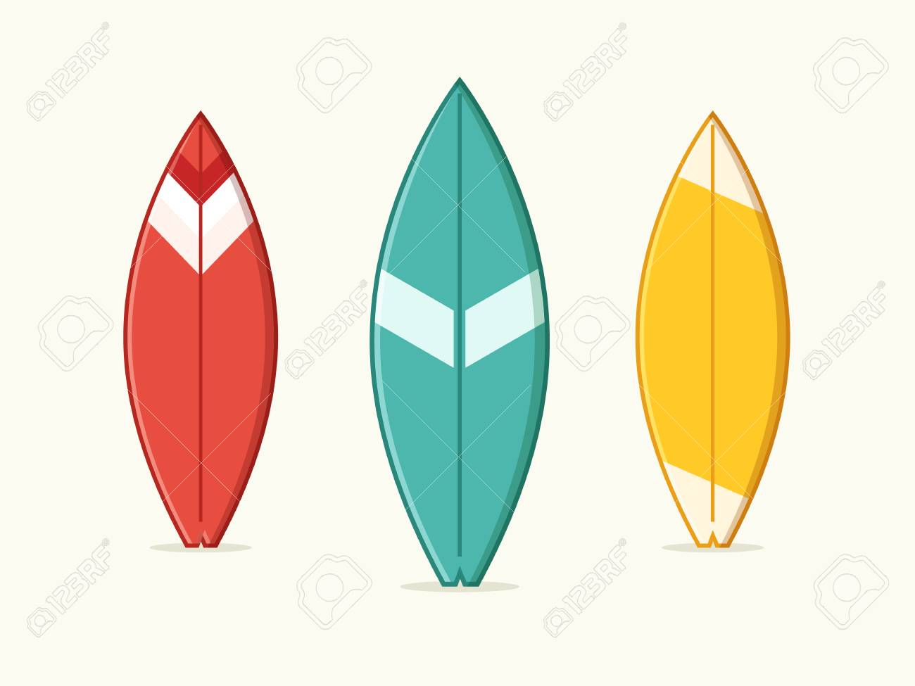 set of blue yellow and red surfboard flat design style royalty