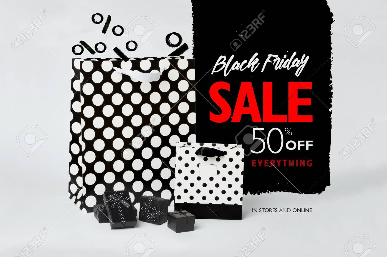 Black Friday Sale Banner With Small Black Gift Boxes And Black