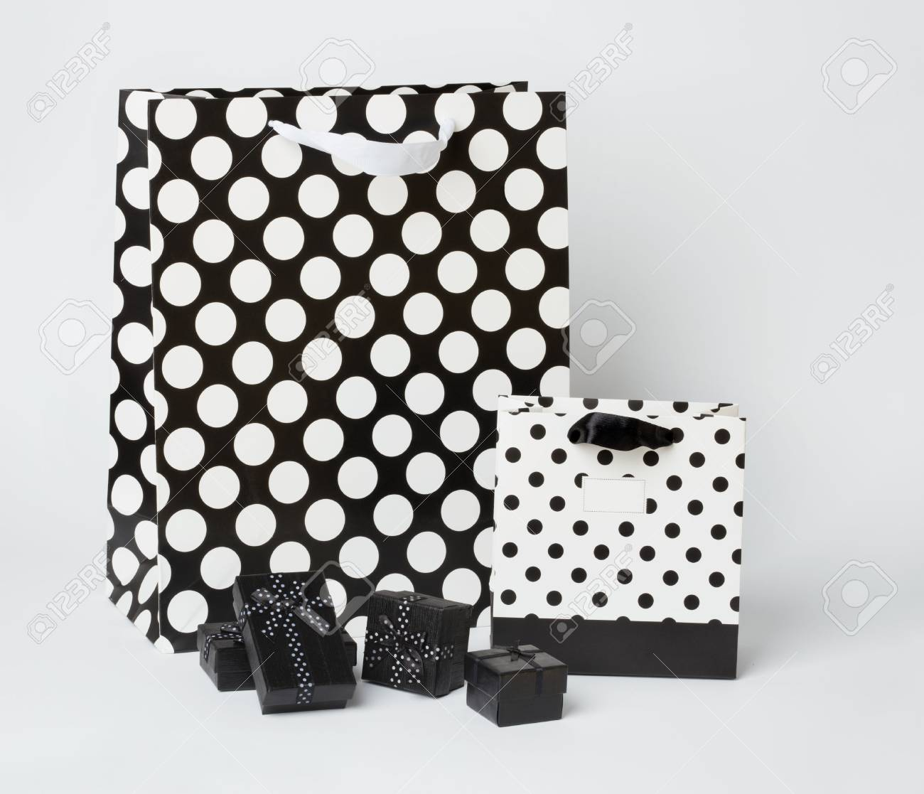 Small Black Gift Boxes With Black And White Gift Bags With Polka