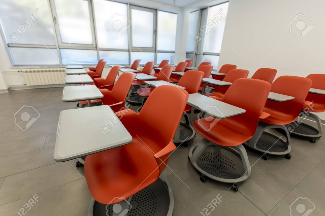 Picture of: Modern Classroom Interior With White Board And Movable Tables Stock Photo Picture And Royalty Free Image Image 90860113