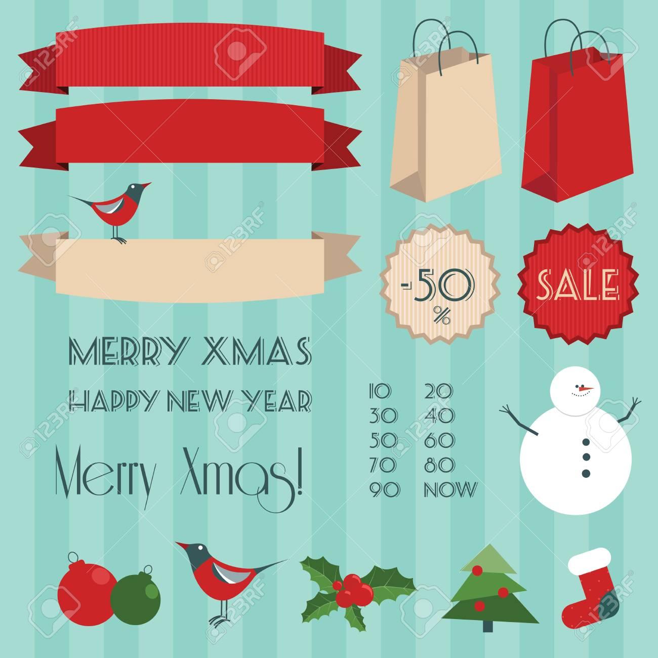 Vintage christmas elements set Stock Vector - 16211888
