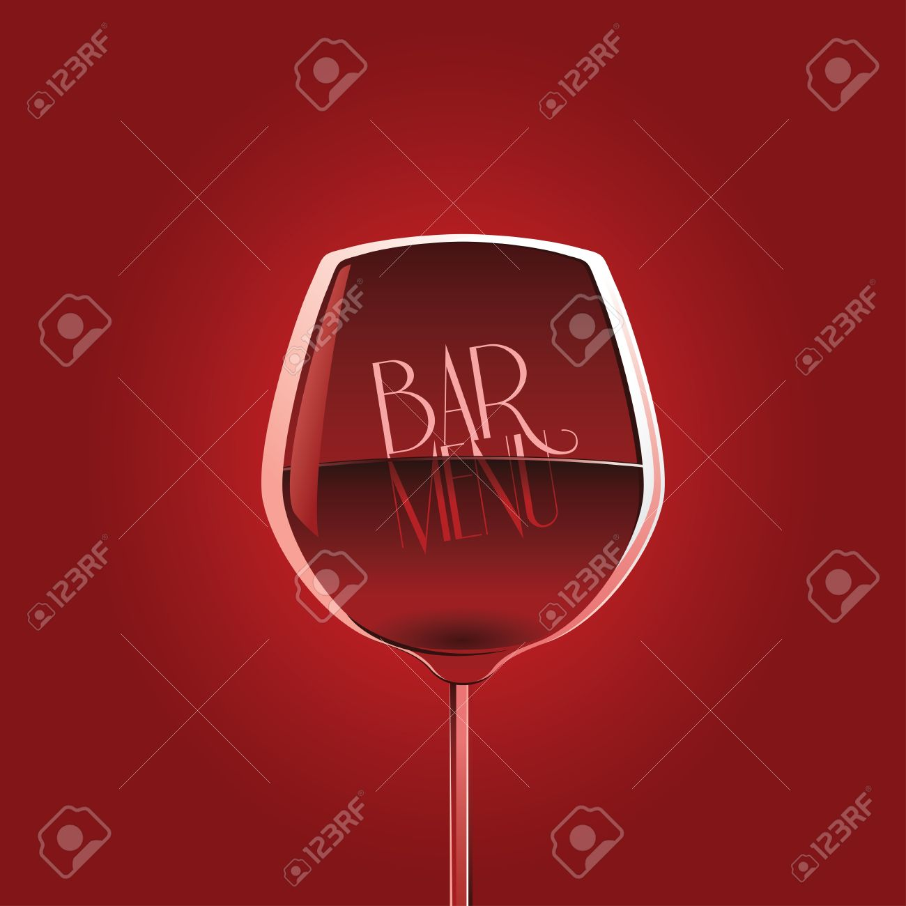 bar menu design template with wine glass on red background royalty