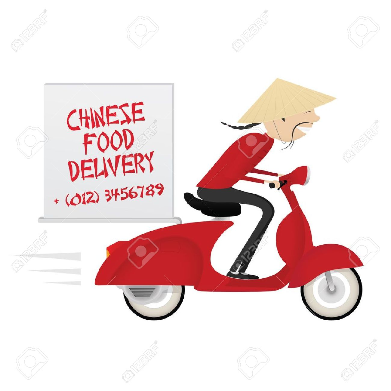 Funny chinese food delivery boy riding motor bike