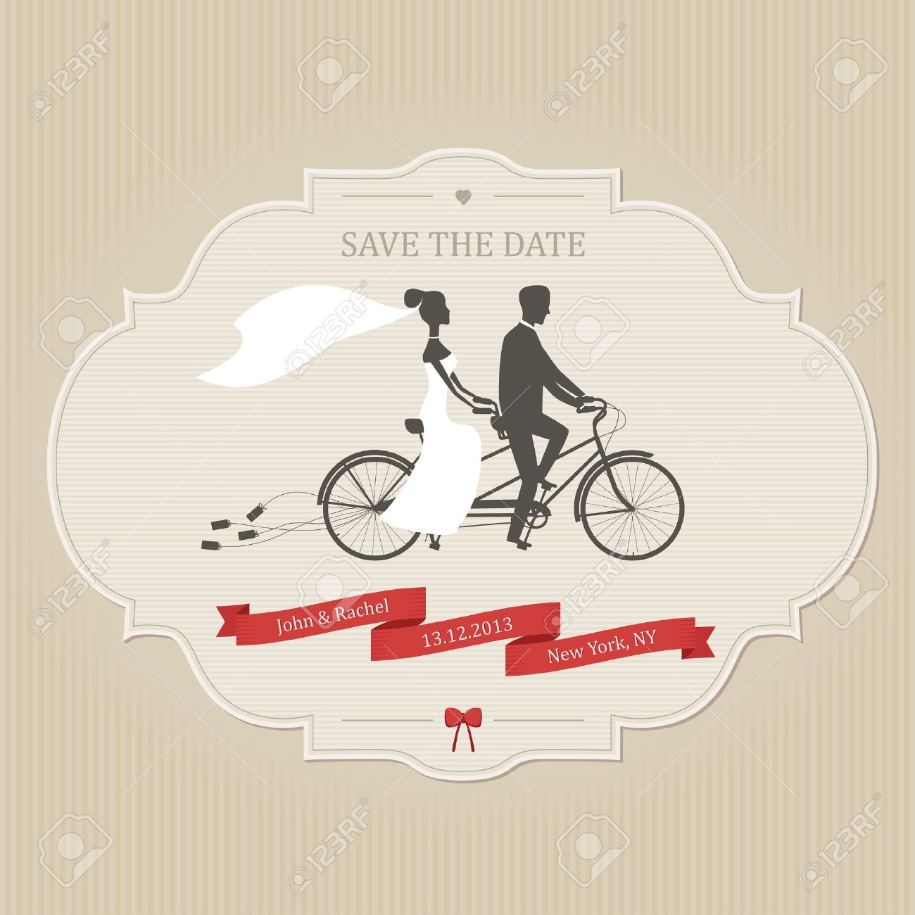Funny Wedding Invitation With Bride And Groom Riding Tandem Bicycle ...