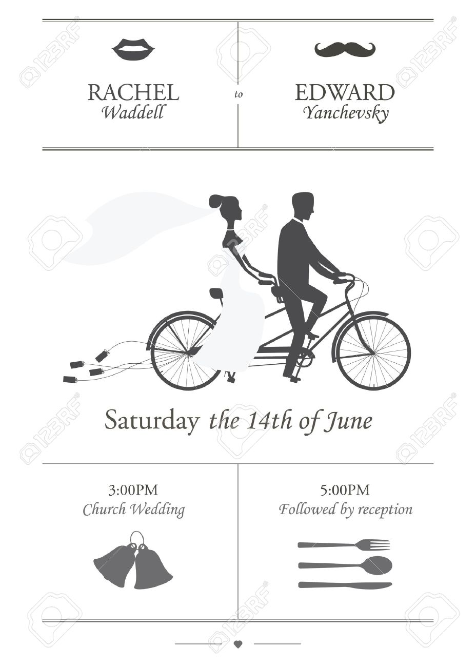 Vintage minimalistic wedding invitation with bride and groom riding tandem bicycle dragging cans Stock Vector - 17122598