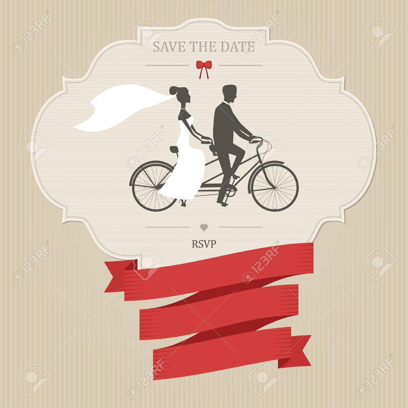 Vintage Wedding Invitation With Tandem Bicycle And Place For ...