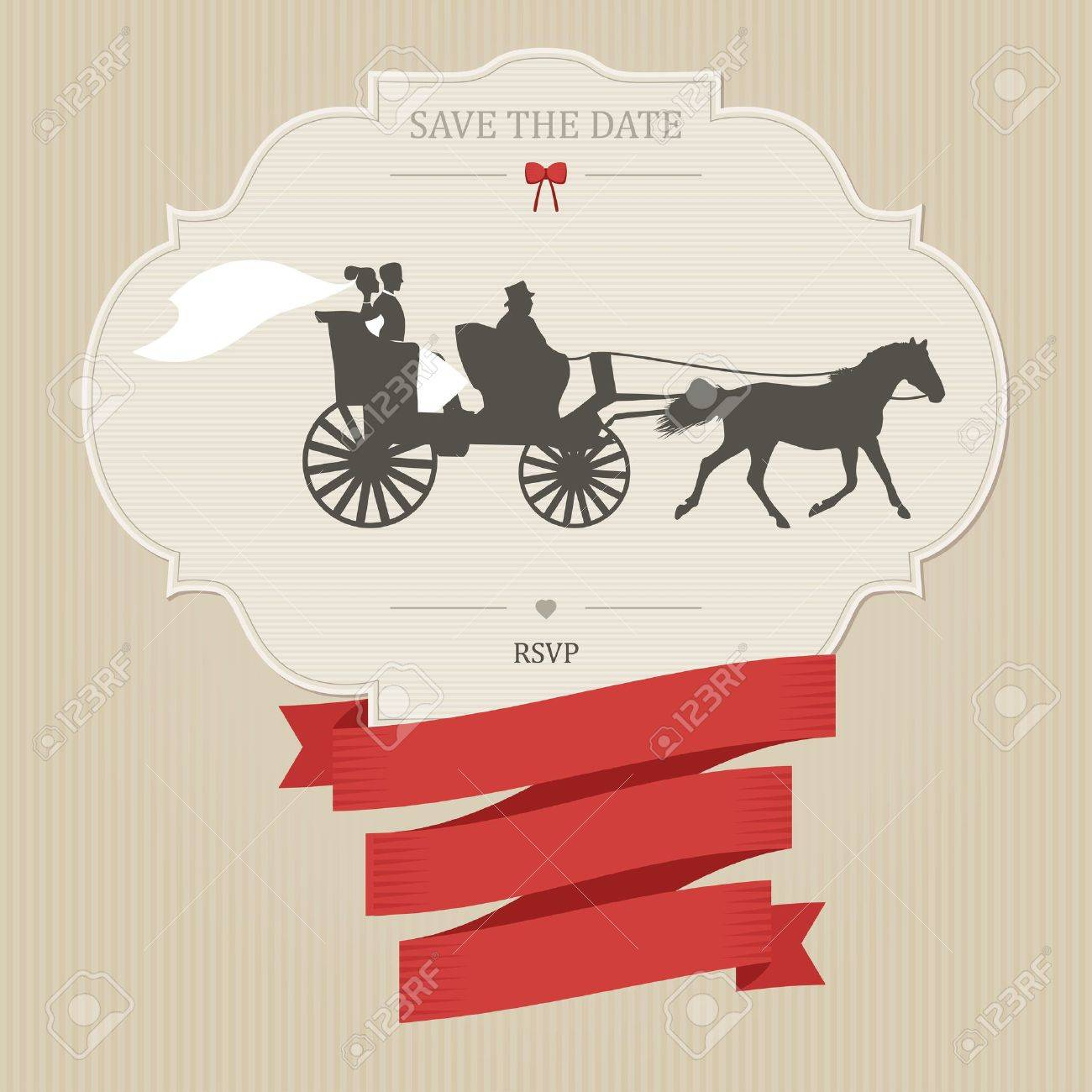 Vintage Wedding Invitation With Retro Carriage. Place For Custom ...