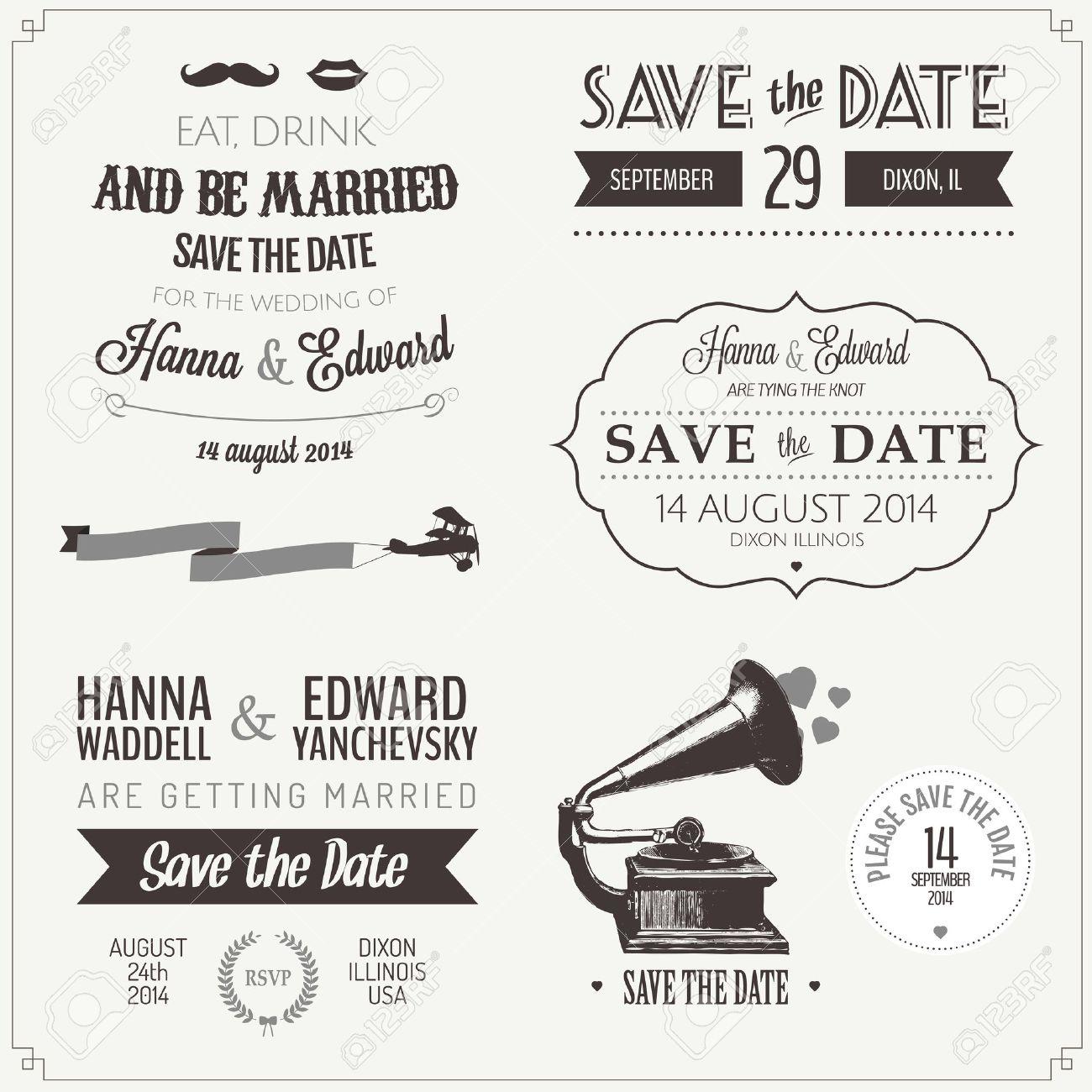Set of wedding invitation vintage typographic design elements Stock Vector - 17470878